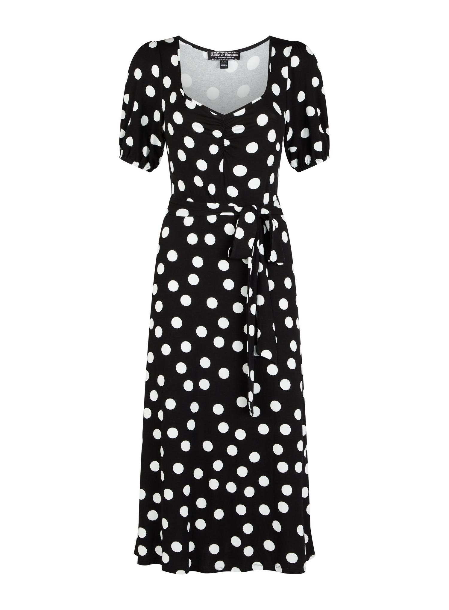 105 Monochrome Spot Print Midi Dress image number 2