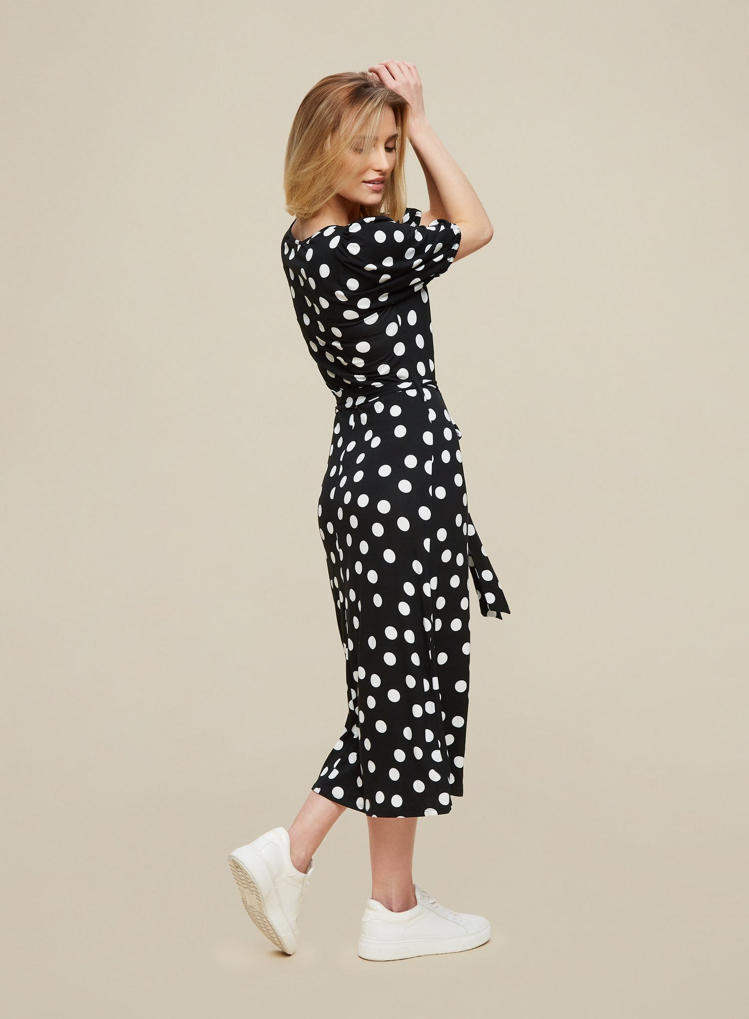 105 Monochrome Spot Print Midi Dress image number 4