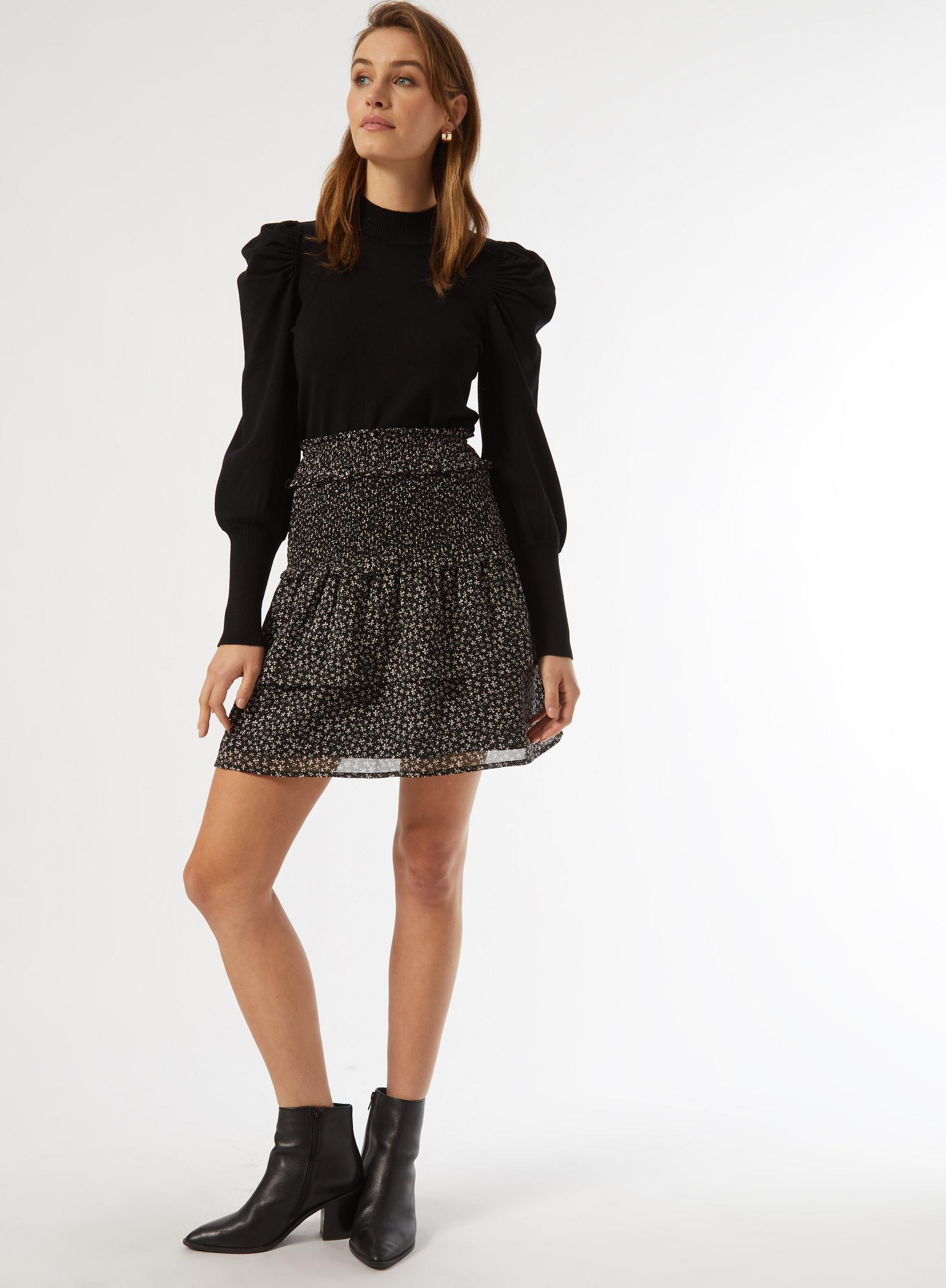 Black Ditsy Print Ruffle Mini Skirt