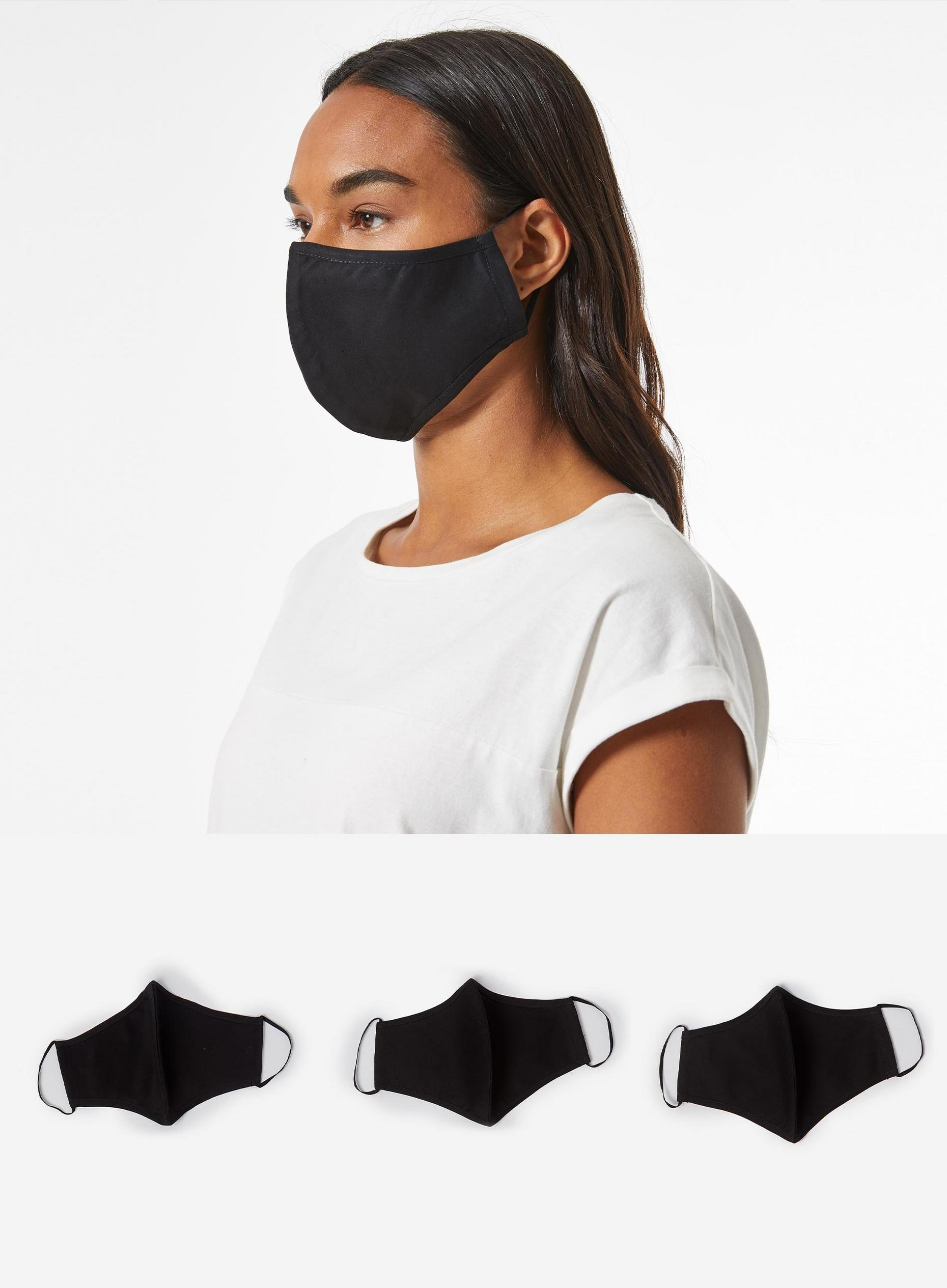 Plain Black 3 Pack Reusable Face Coverings