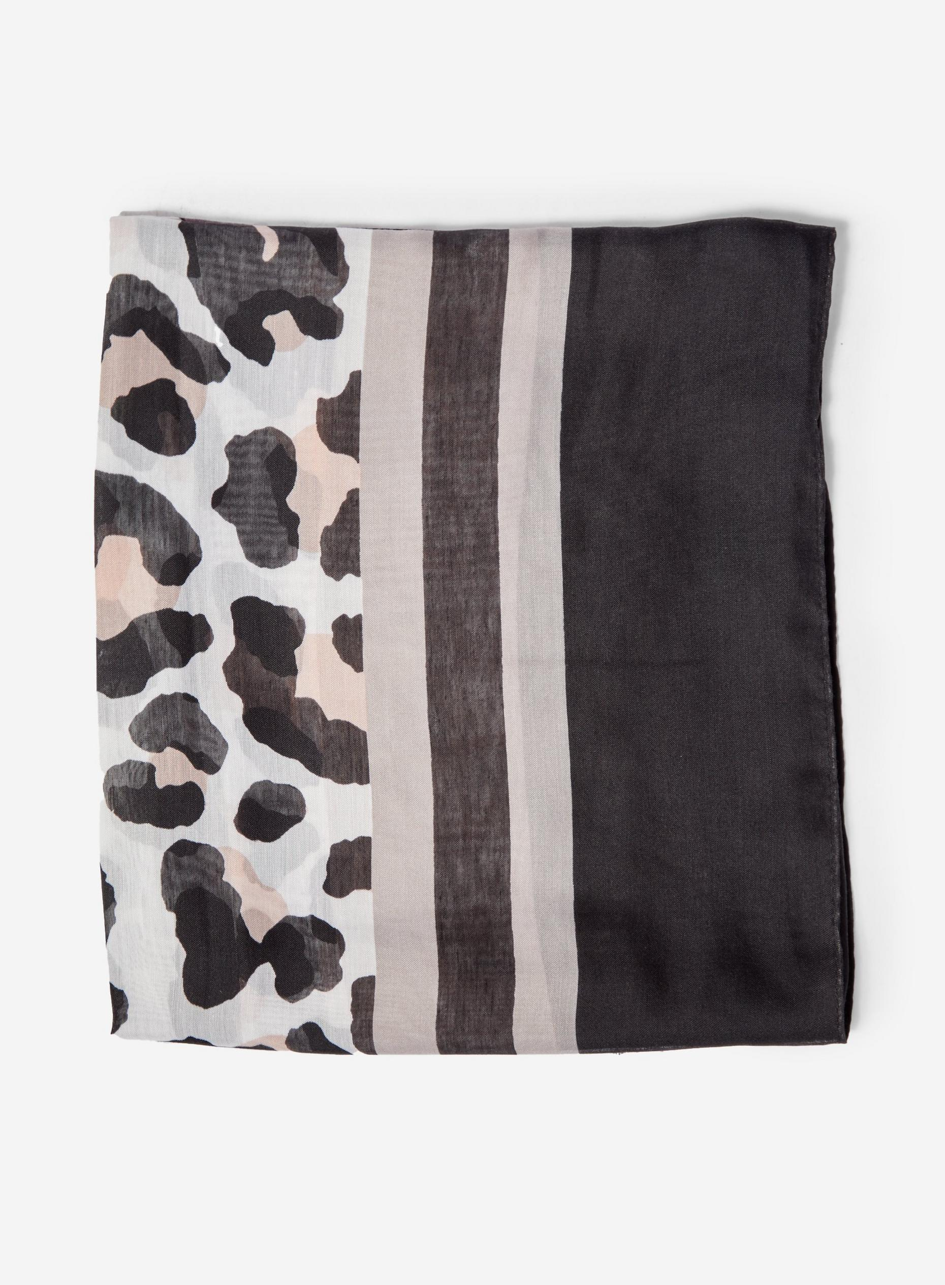 Black Animal Print Lightweight Scarf