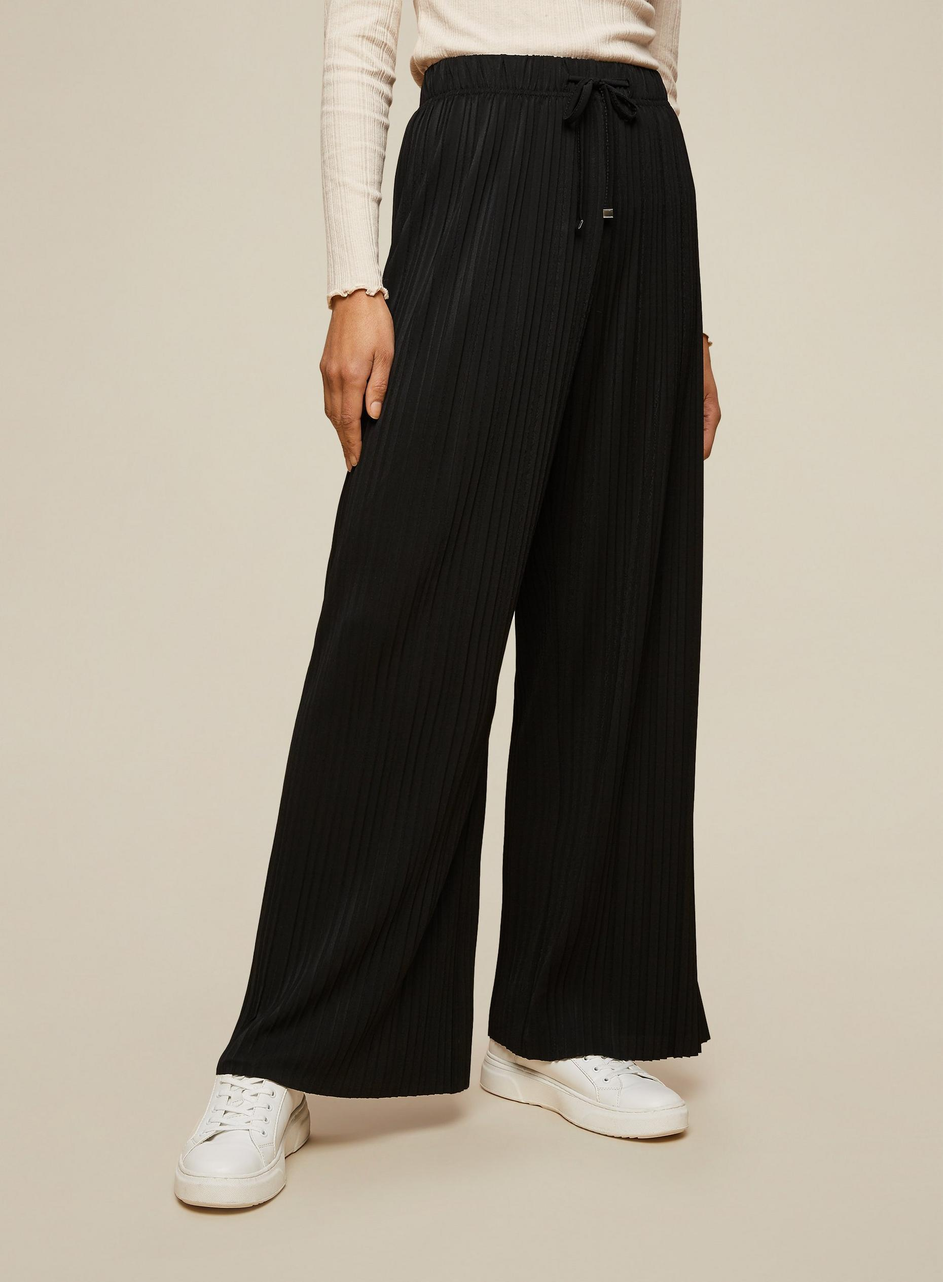 Black Jersey Pleated Trousers