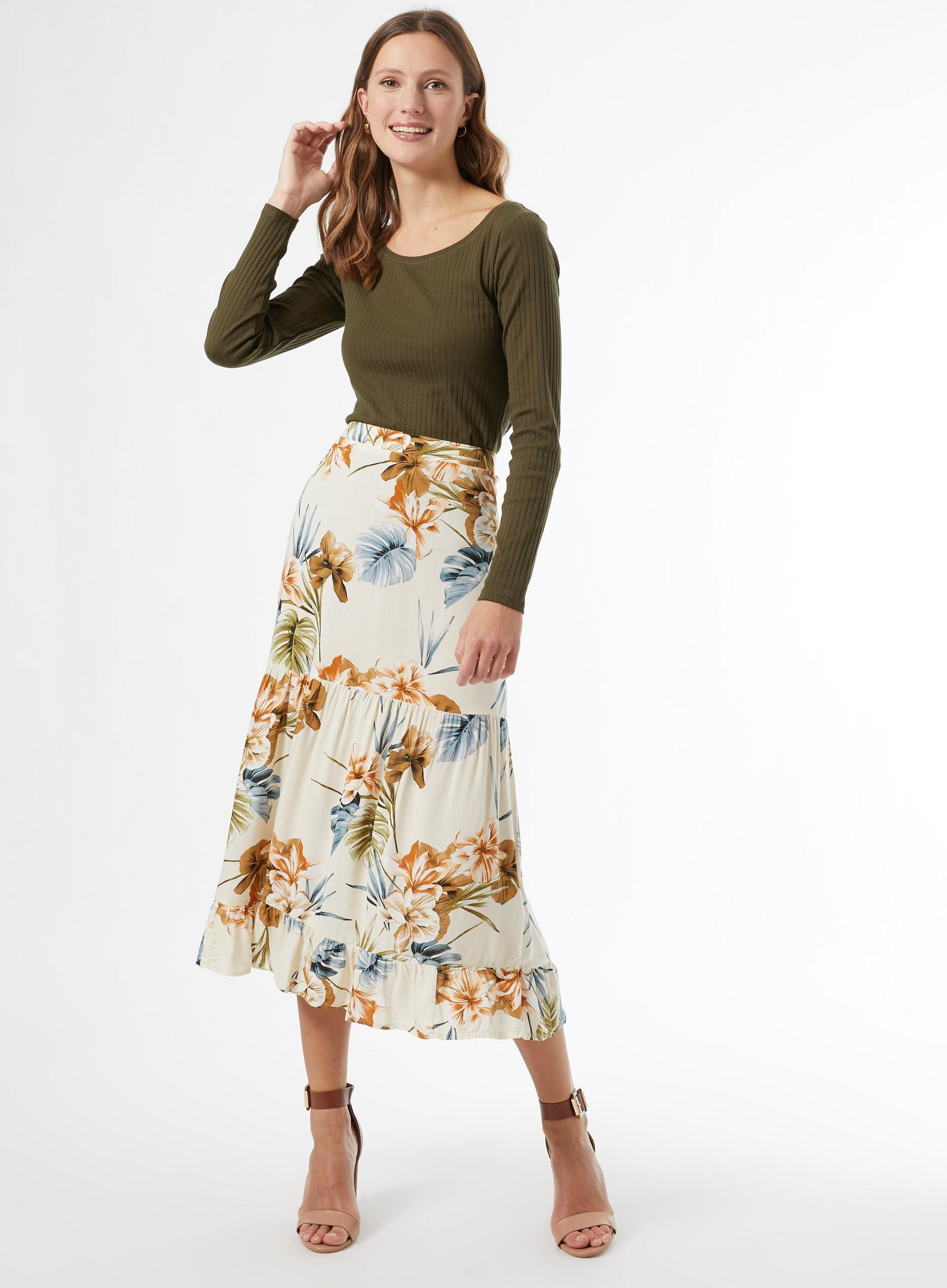 Cream Tropical Print Midi Skirt