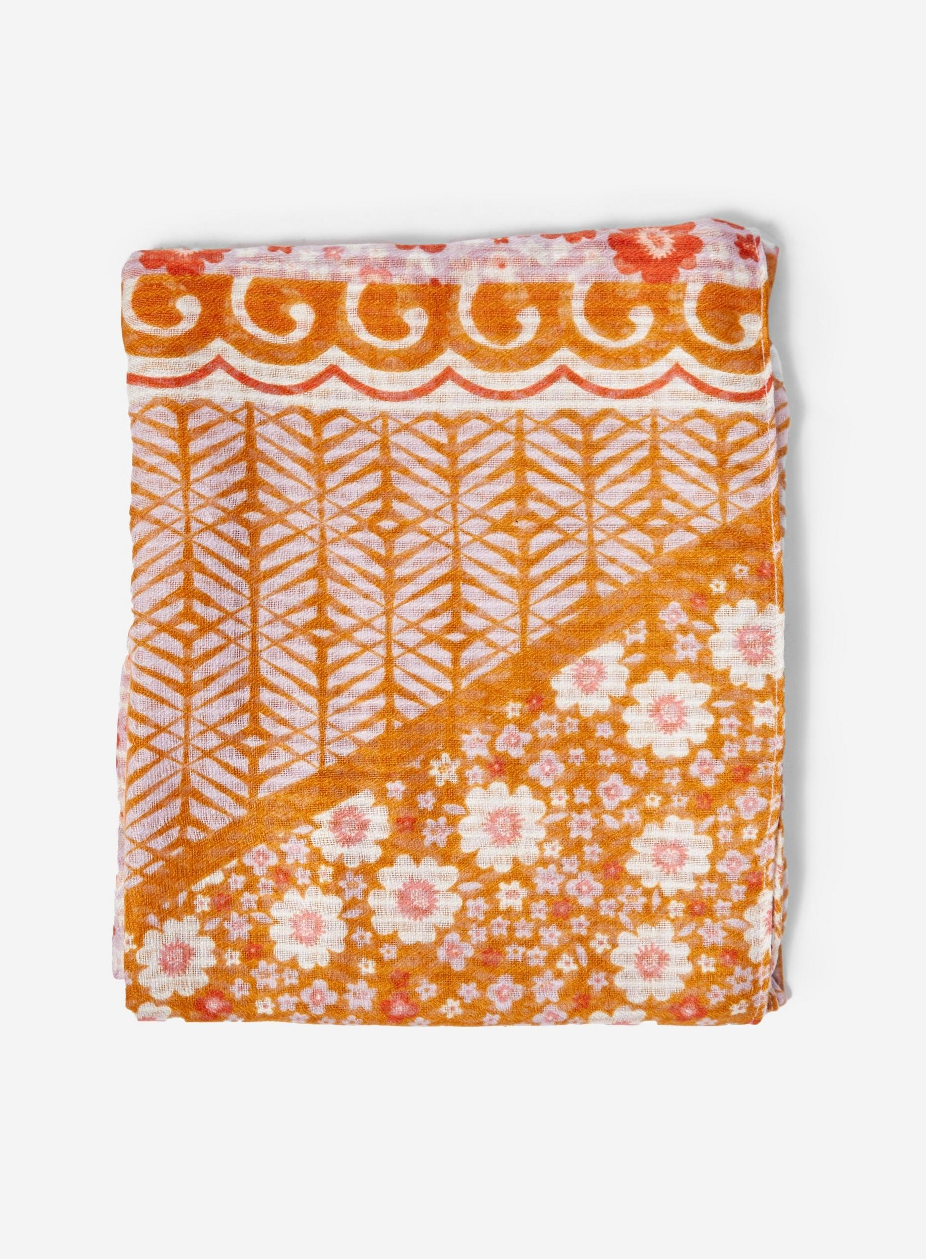 Orange Daisy Print Lightweight Scarf