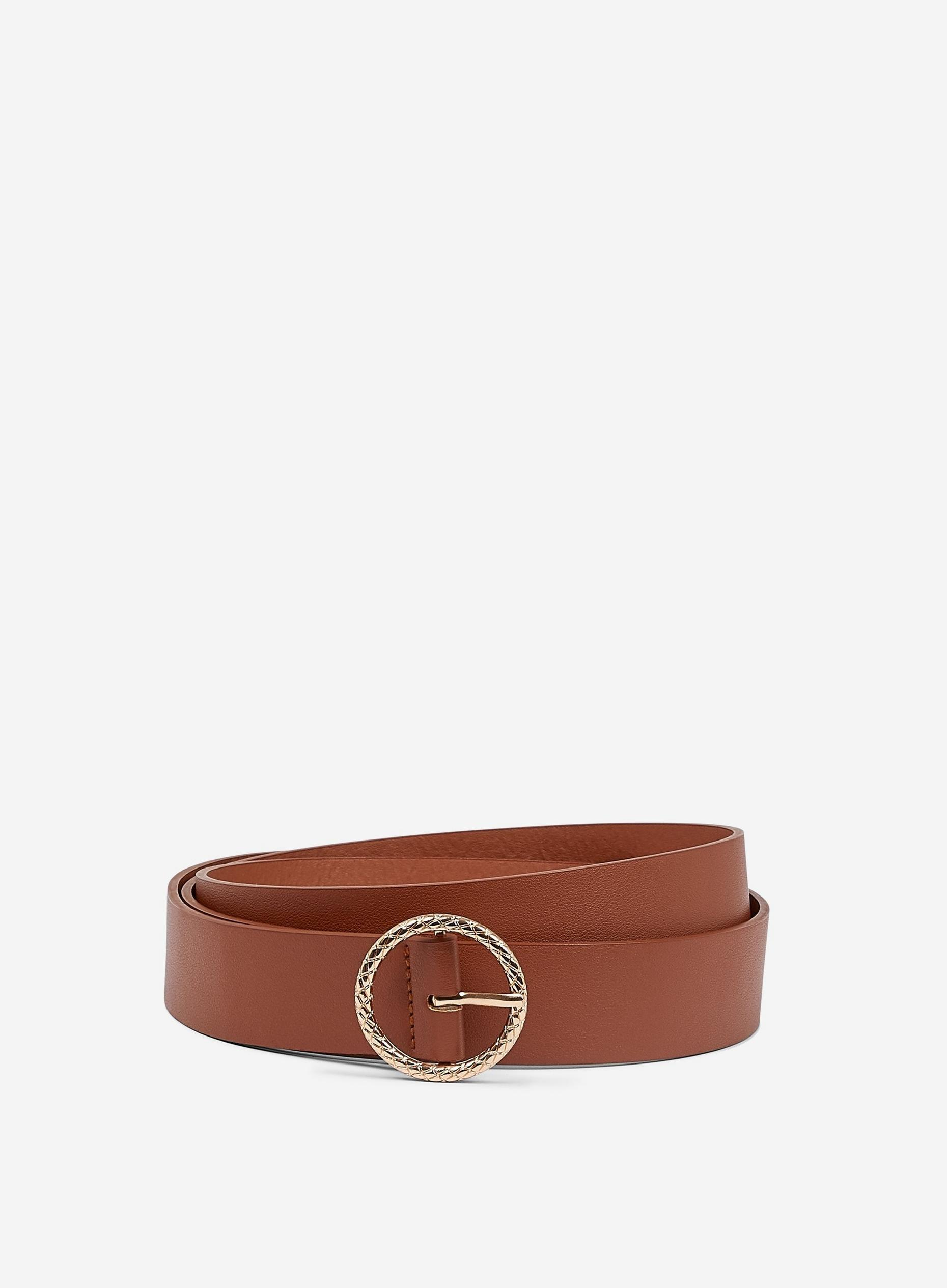 Tan Engraved Circle Belt