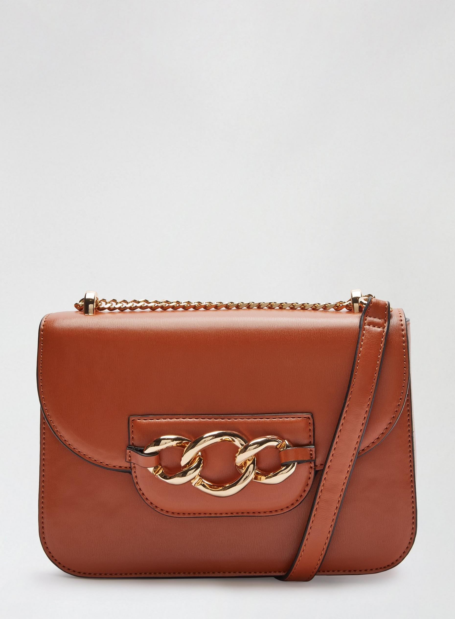 Tan Chain Front Crossbody Bag
