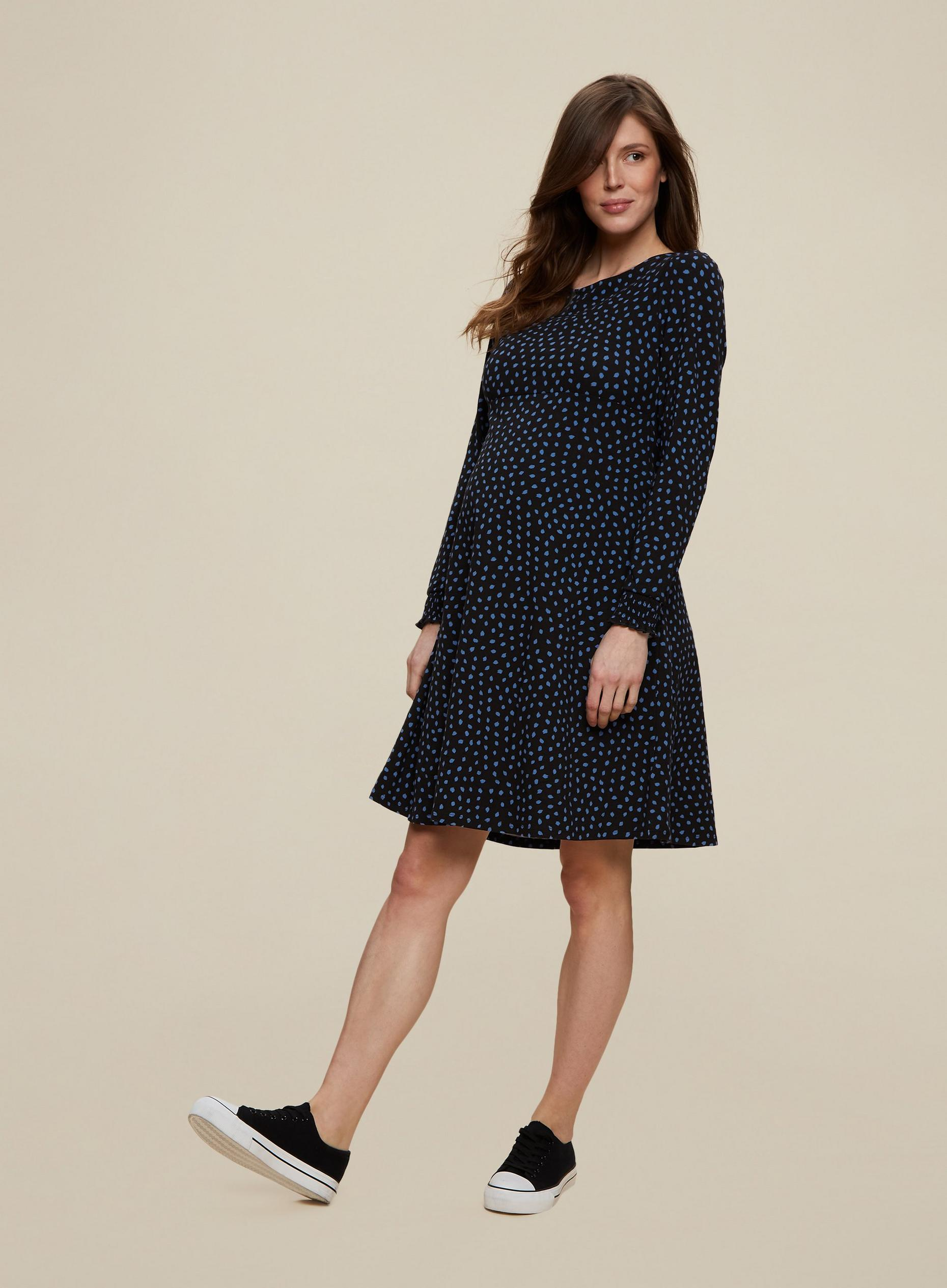 Maternity Black Spot Print Dress