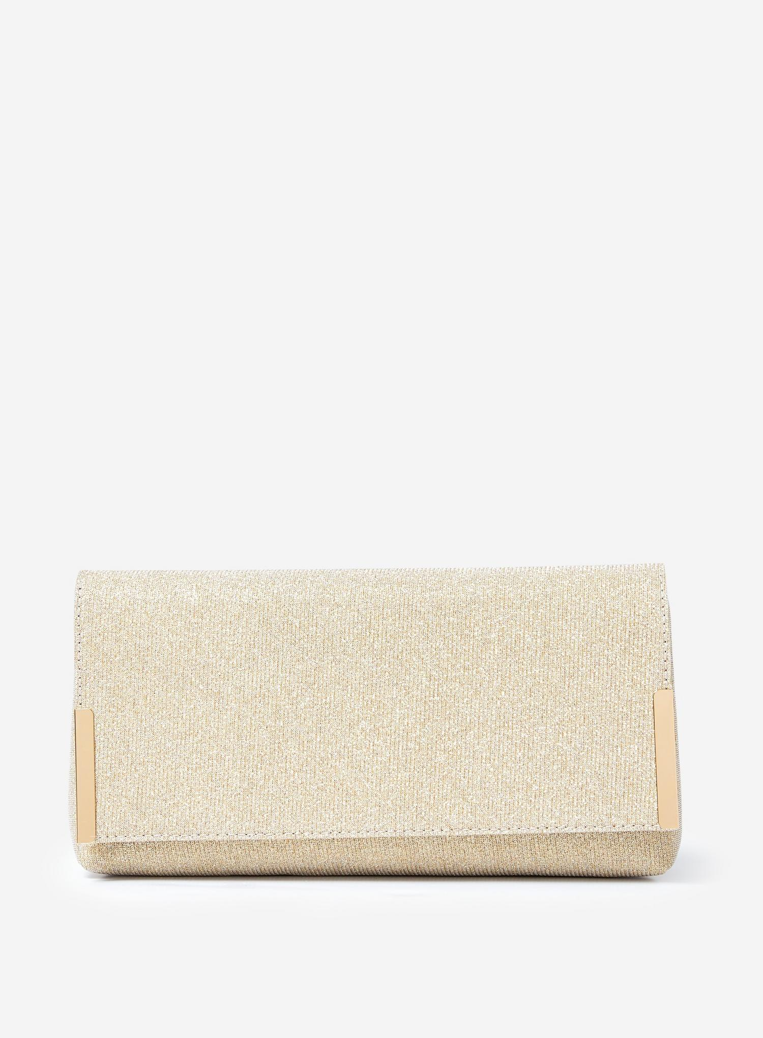579 Gold Metal Side Bar Clutch Bag image number 1