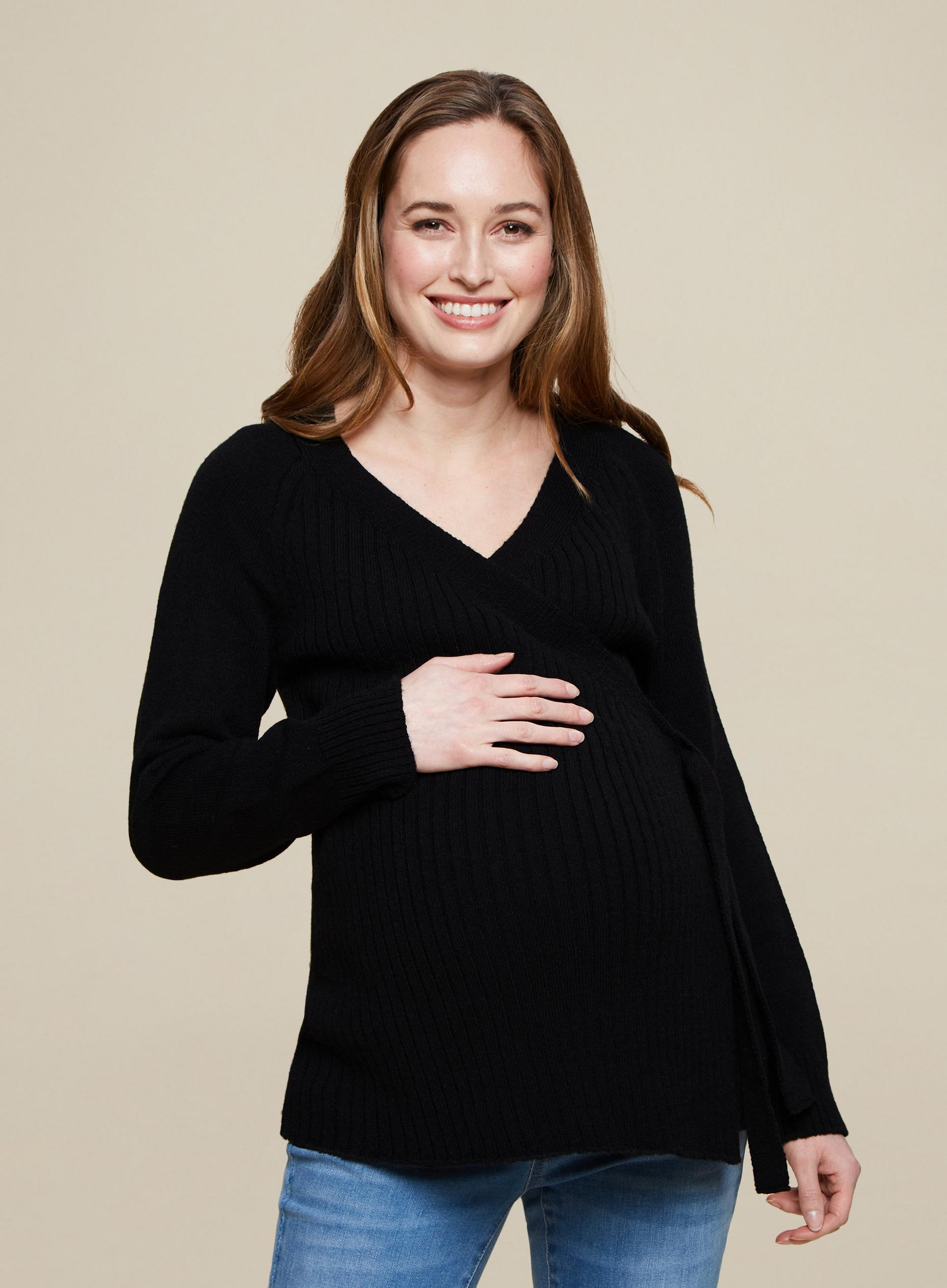 Maternity Black Wrap Cardigan