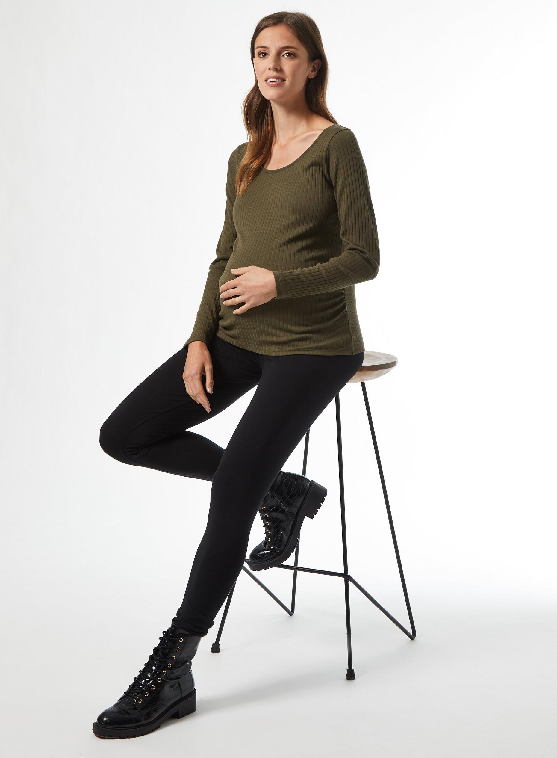 Maternity Khaki Rib Crew Neck Top