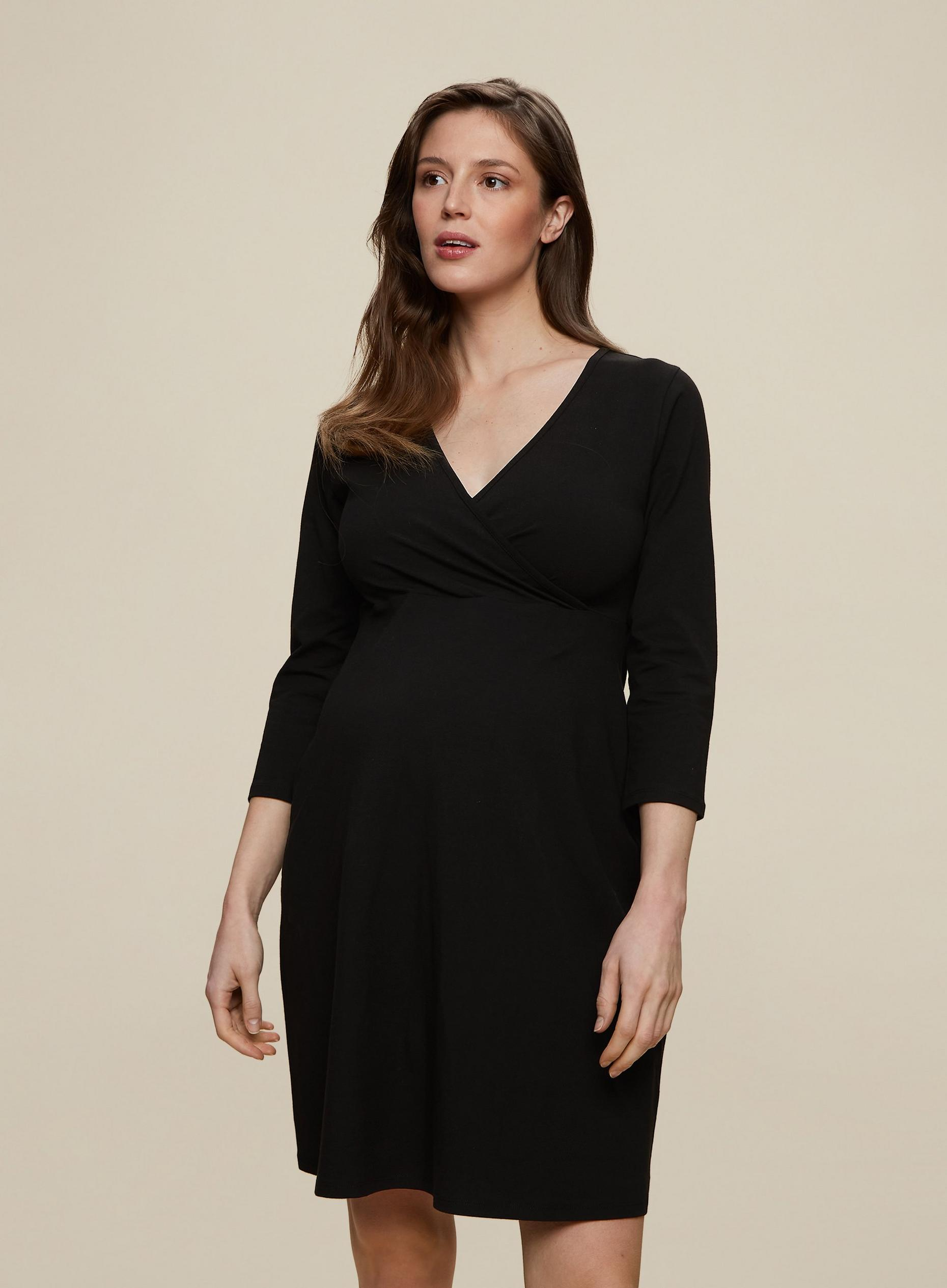 Maternity Black Wrap Midi Dress