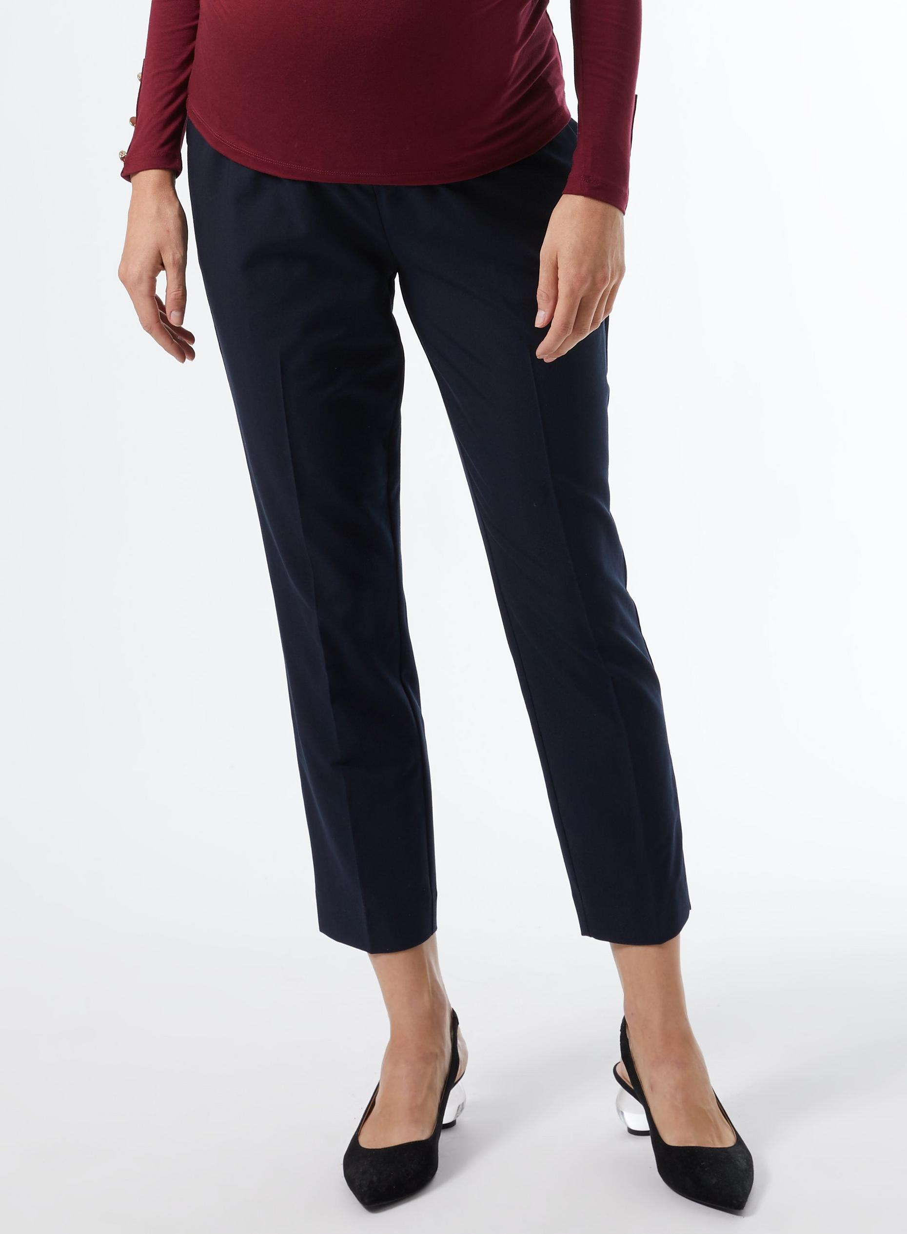 Maternity Navy Ankle Grazer Trousers