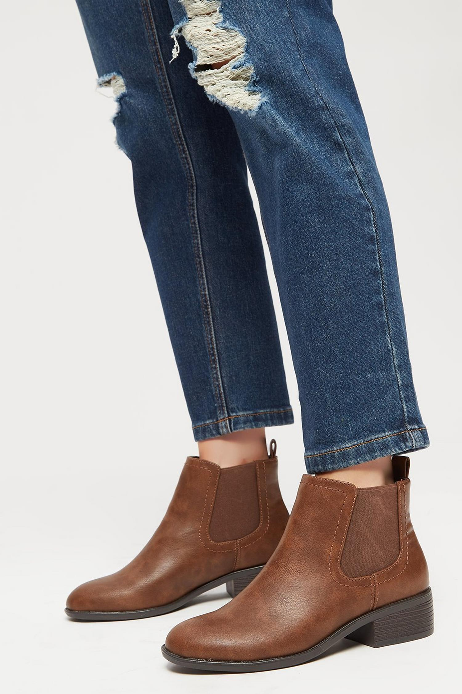 109 Tan PU Maple Chelsea Boots image number 4
