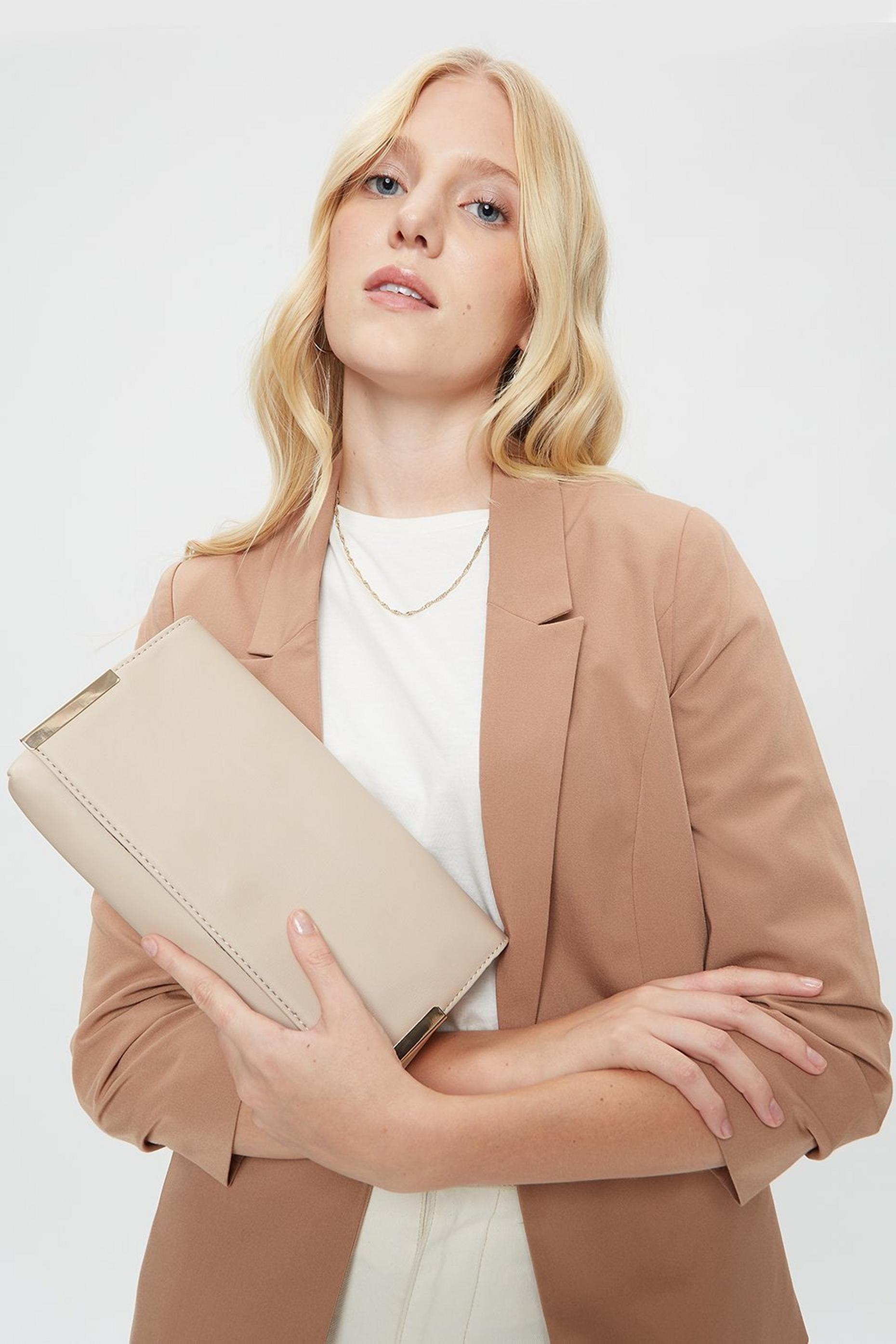 Beige Metal Side Bar Clutch Bag
