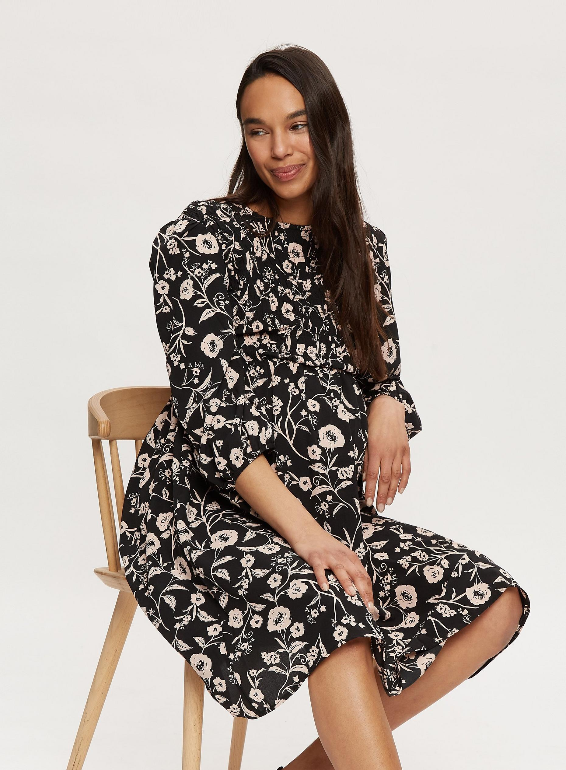 Maternity Black Floral Print Dress
