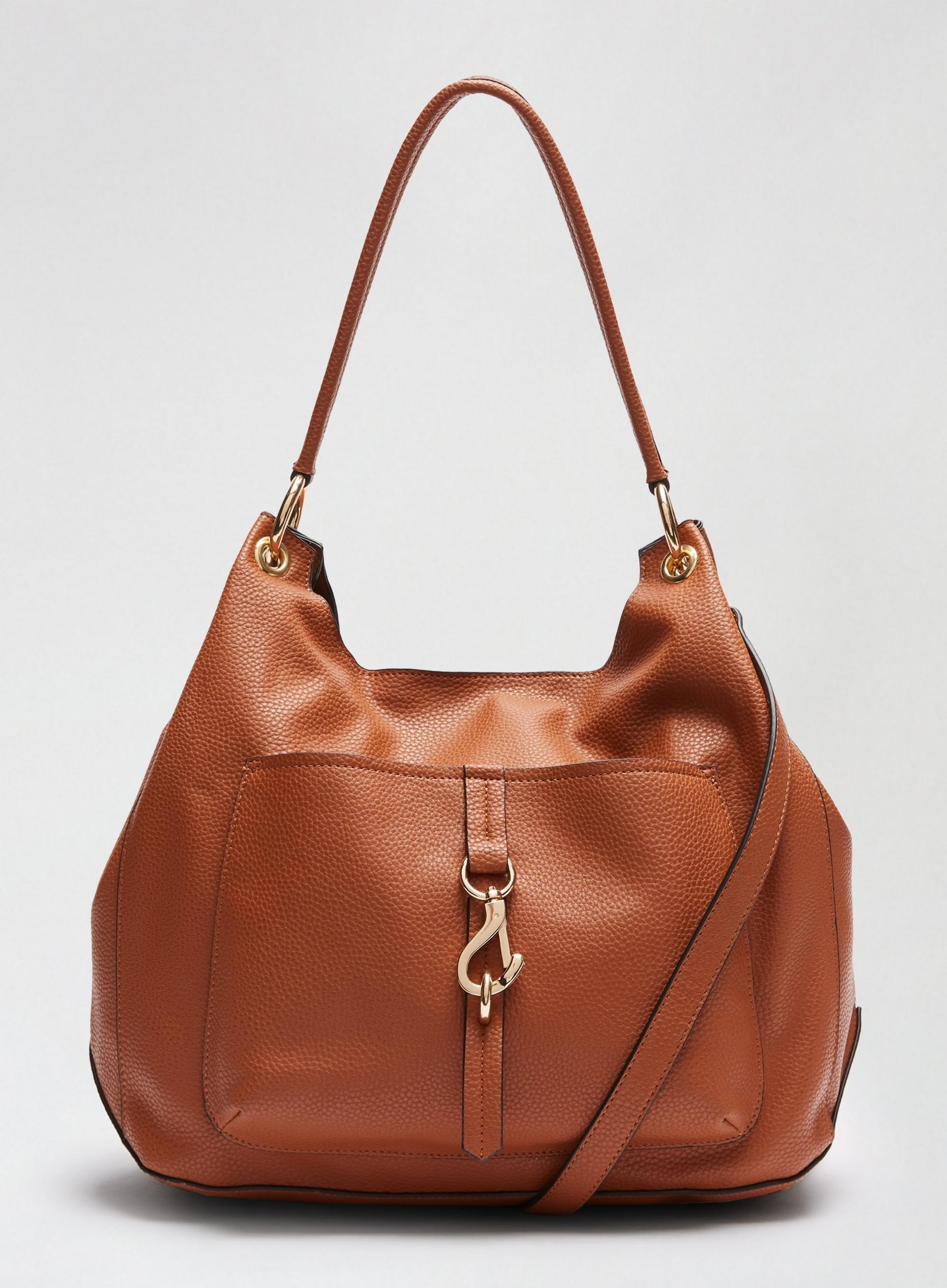 Tan Clip Front Hobo Bag
