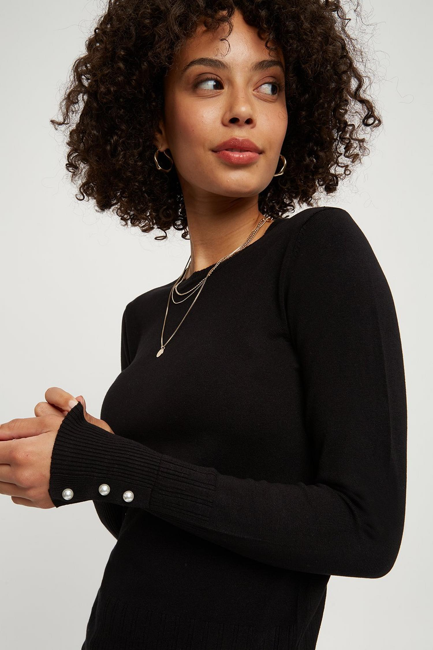 105 Black Pearl Cuff Crew Neck Jumper image number 1