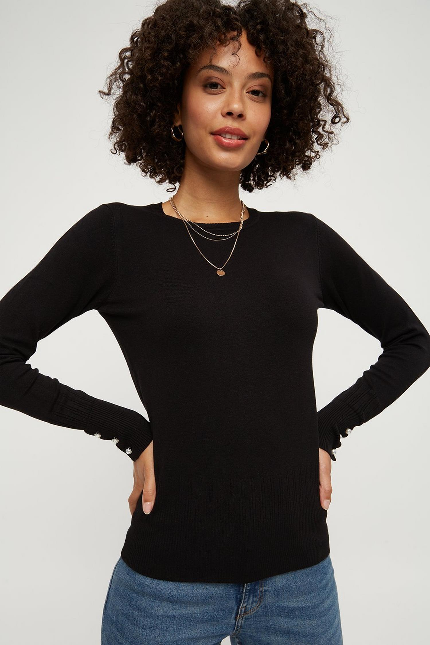 105 Black Pearl Cuff Crew Neck Jumper image number 4