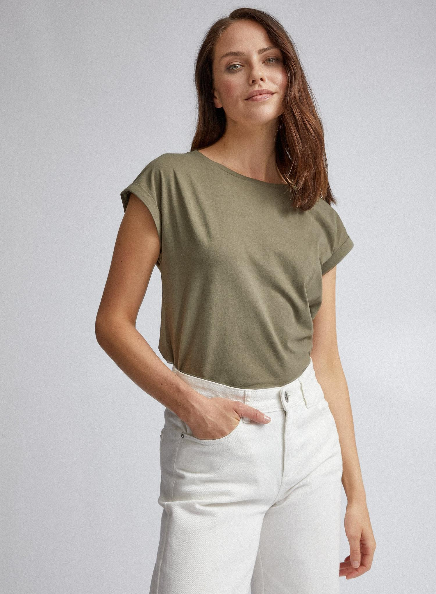 130 Khaki Organic Cotton Roll Sleeve T-Shirt image number 1