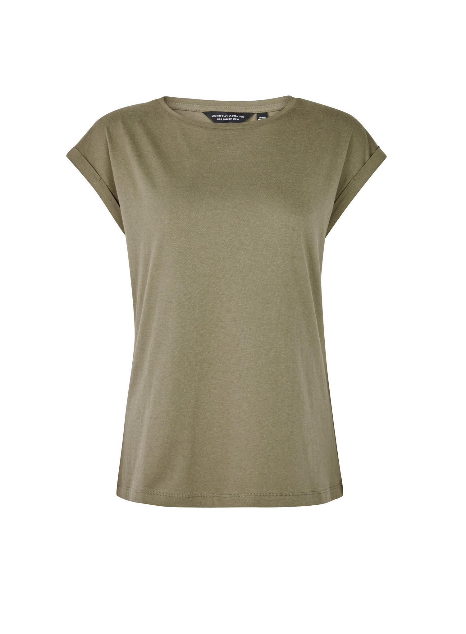 130 Khaki Organic Cotton Roll Sleeve T-Shirt image number 2