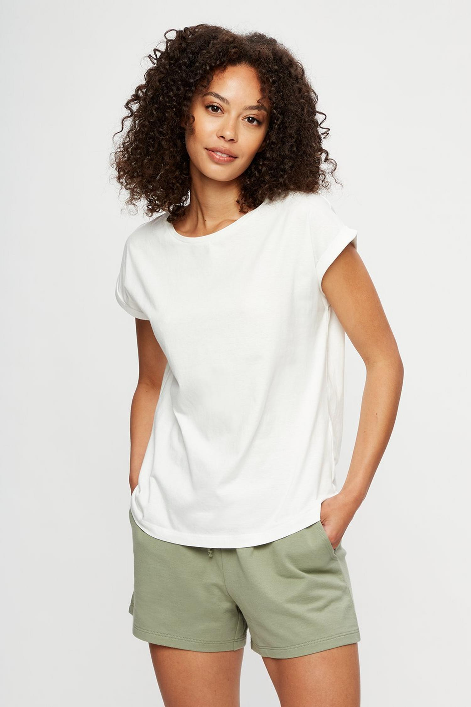 173 White Organic Cotton Roll Sleeve T-Shirt image number 1