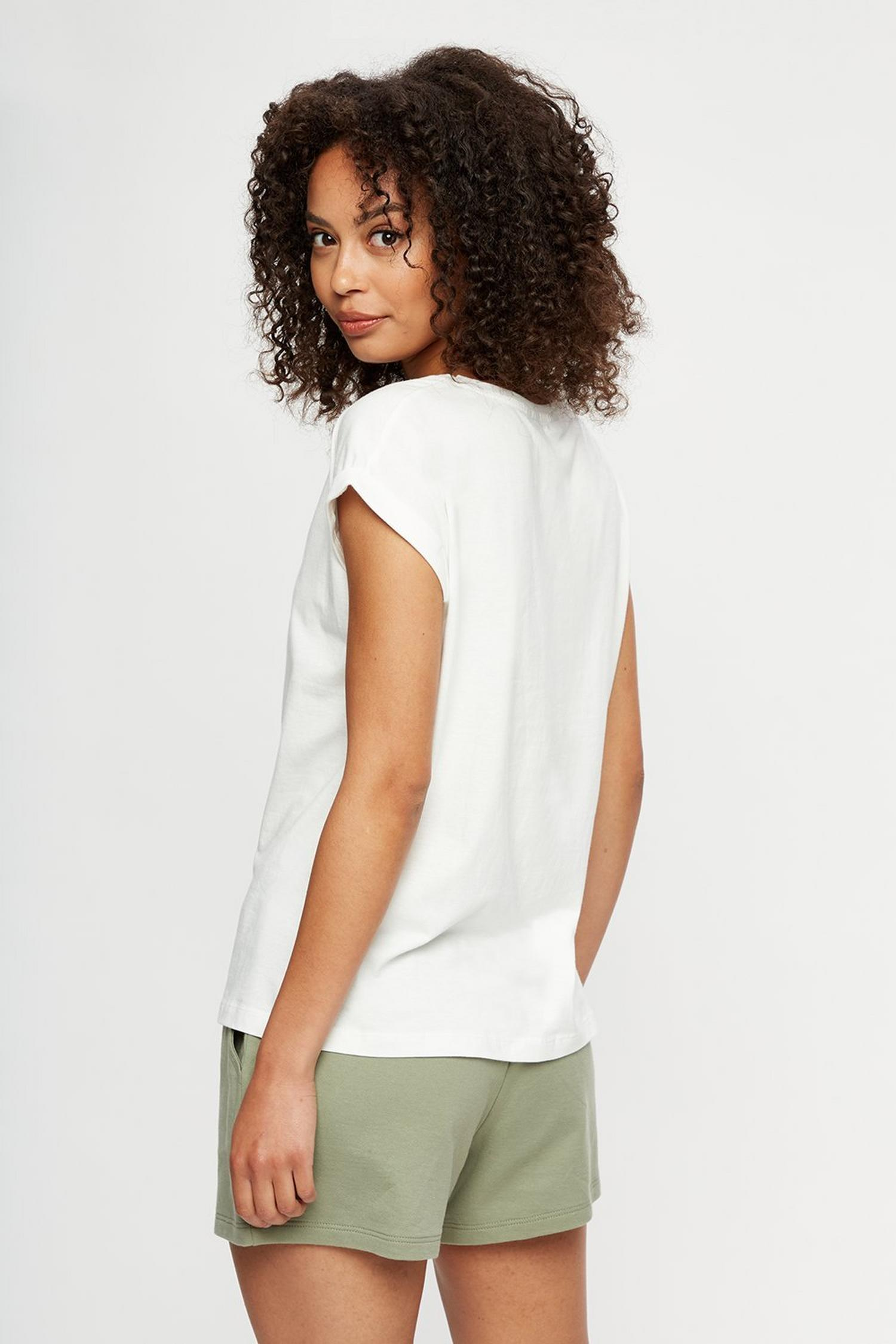 173 White Organic Cotton Roll Sleeve T-Shirt image number 3