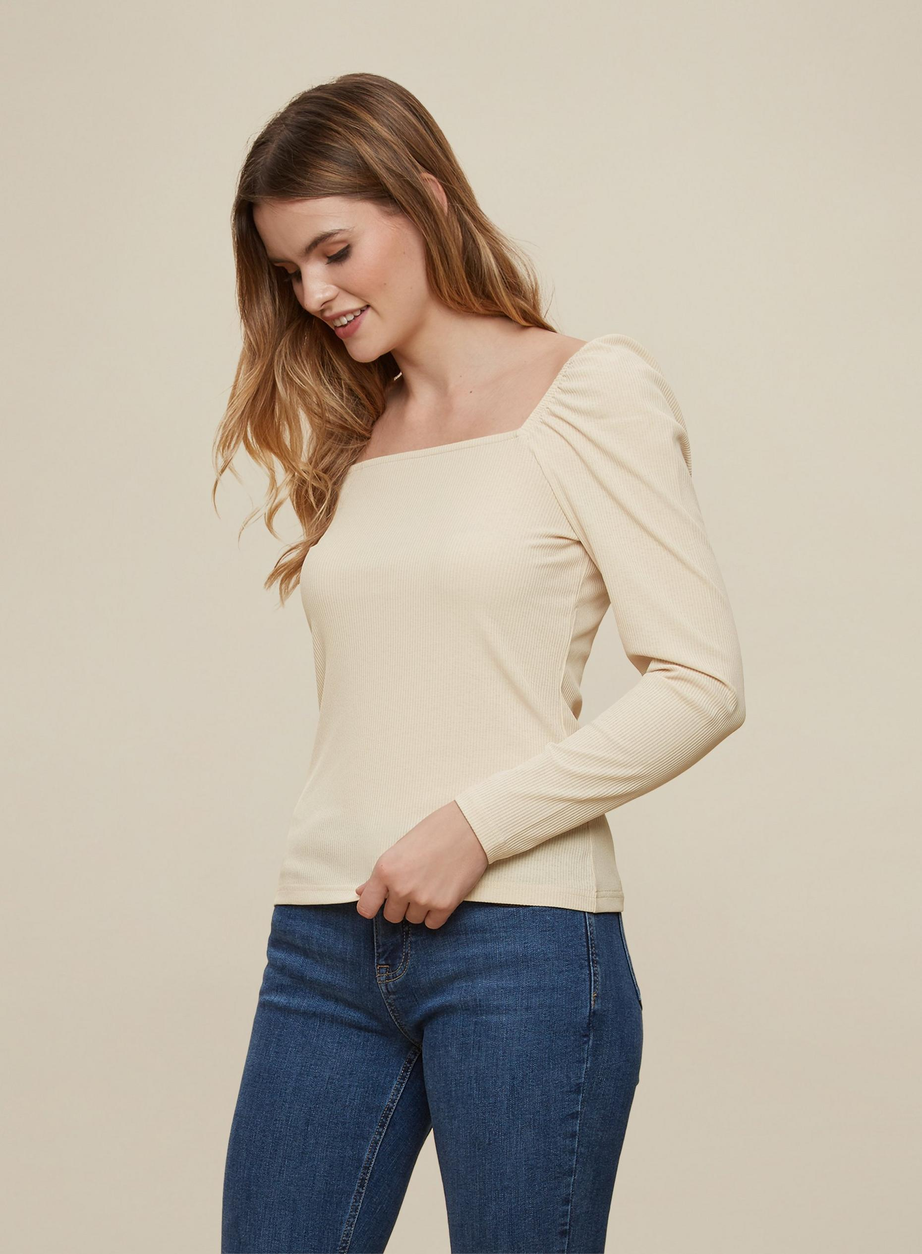 Camel Square Neck Ribbed T-Shirt