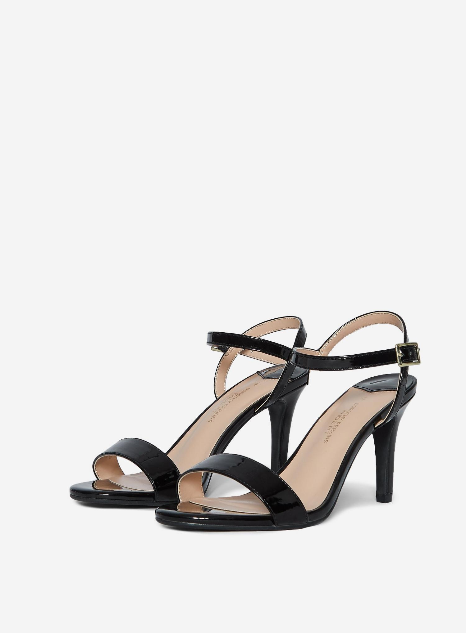 105 Wide Fit Black Patent Sizzle Sandals image number 1