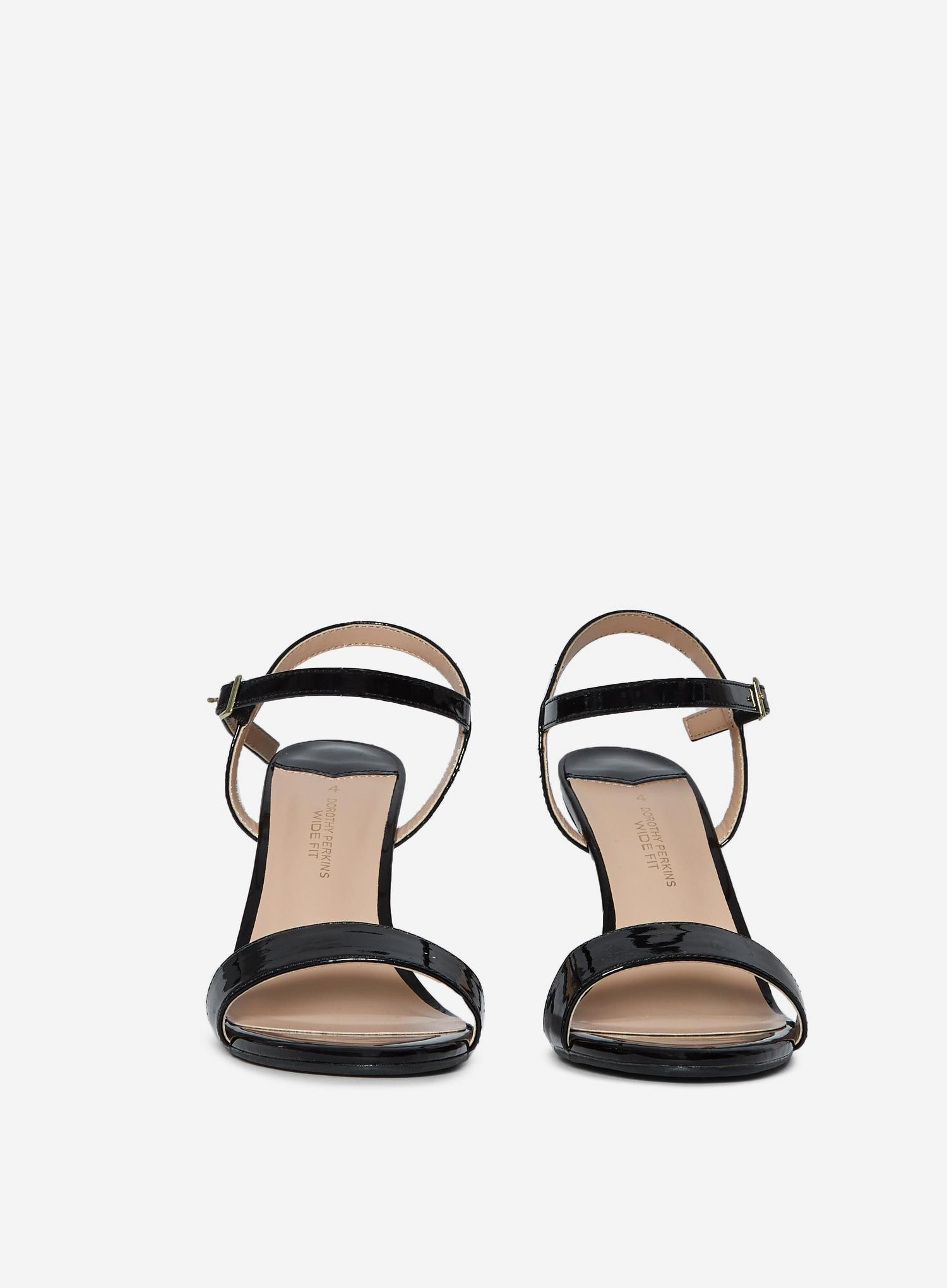 105 Wide Fit Black Patent Sizzle Sandals image number 3