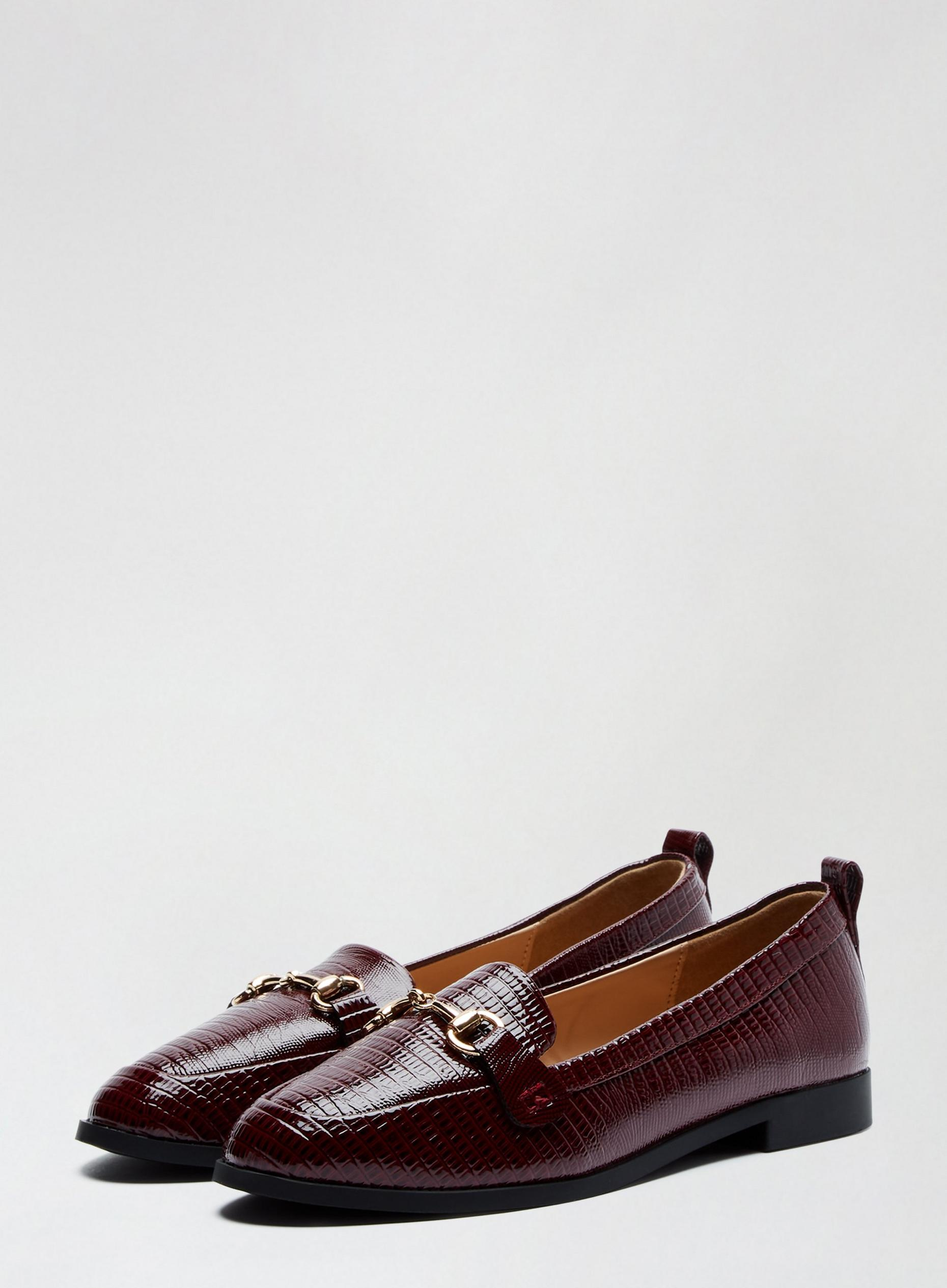 Wide Fit Oxblood Lizard Detail Lula Loafers