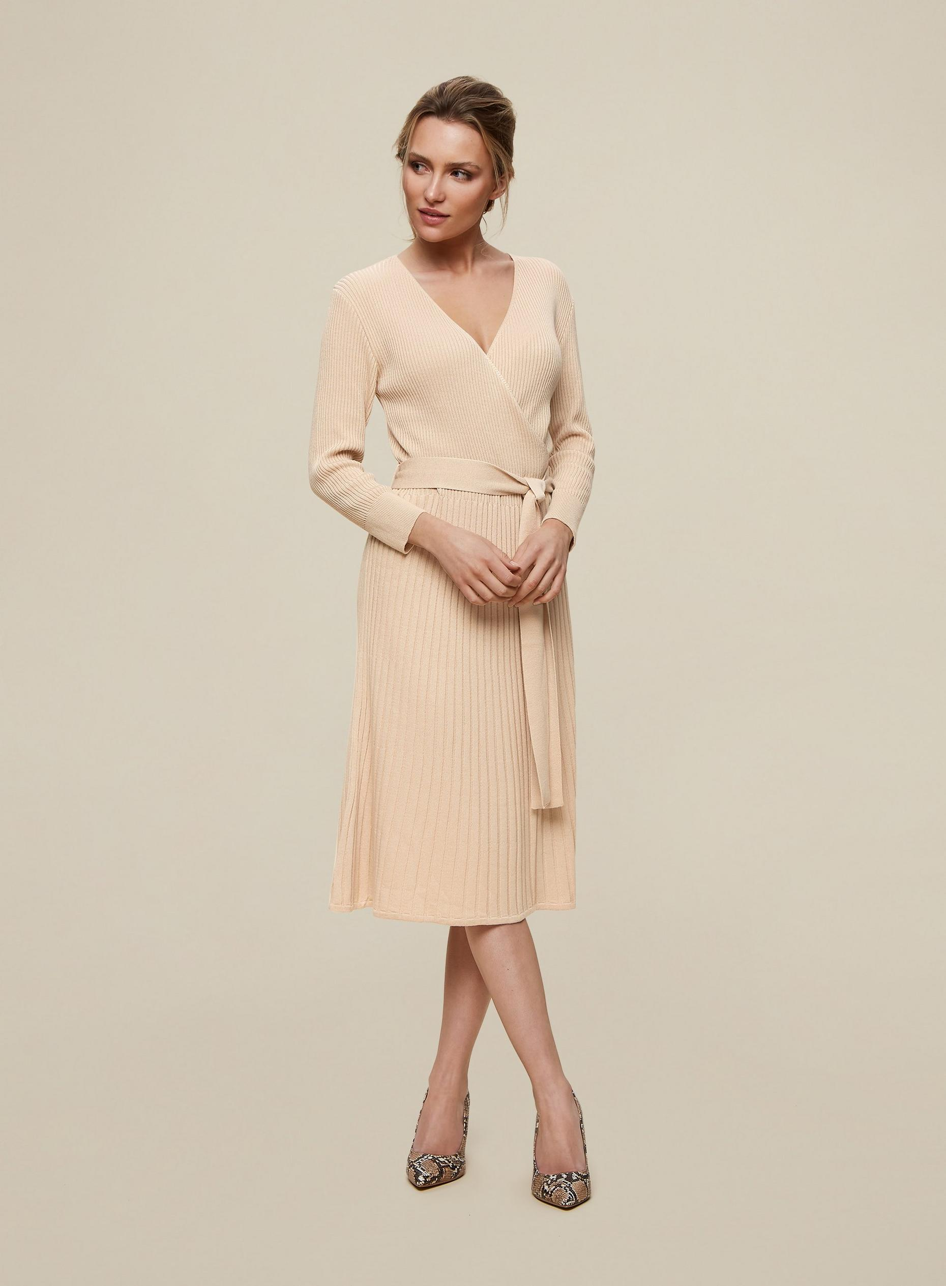 Camel Rib Wrap Dress