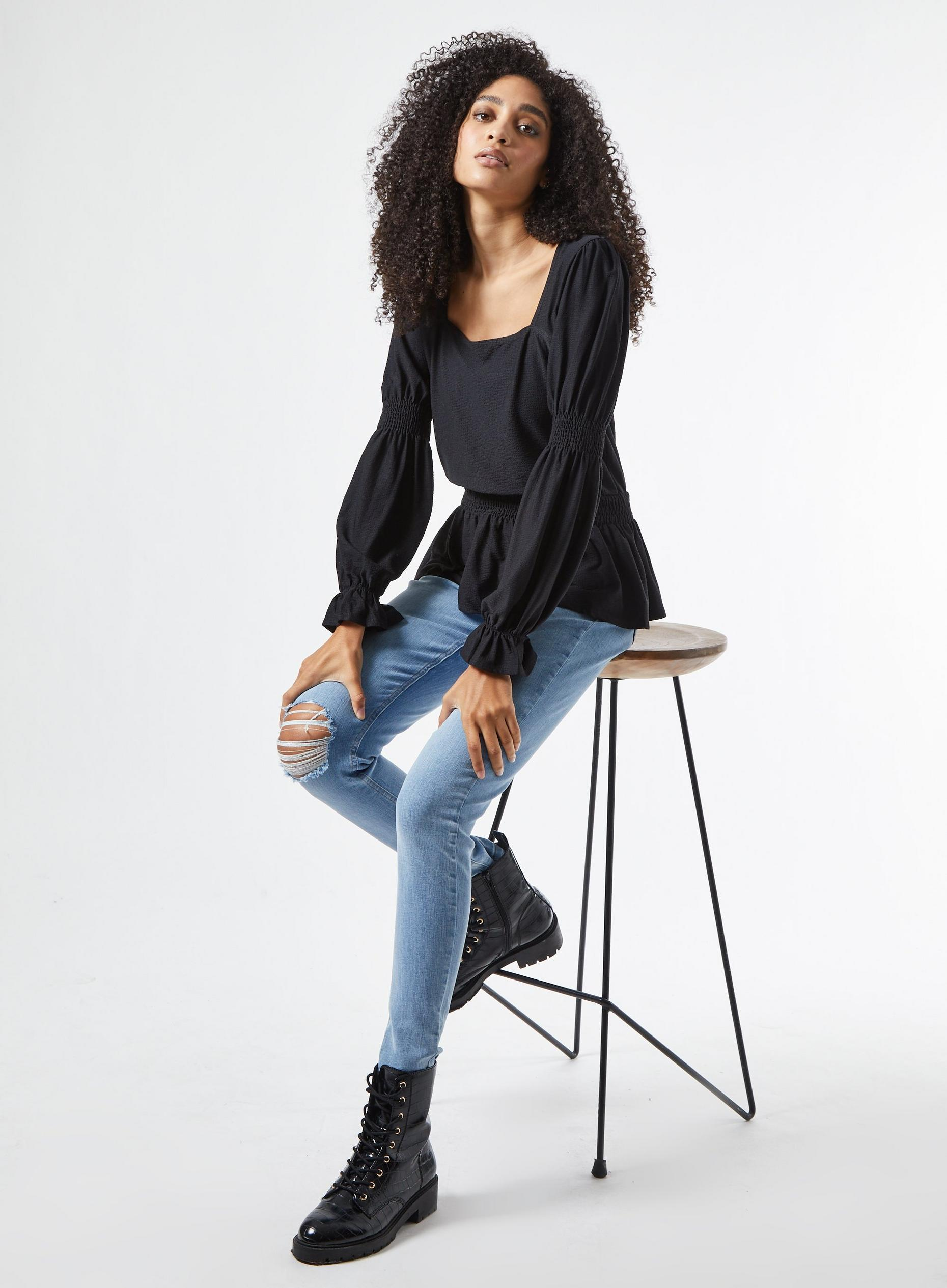 Black Textured Square Neck Top