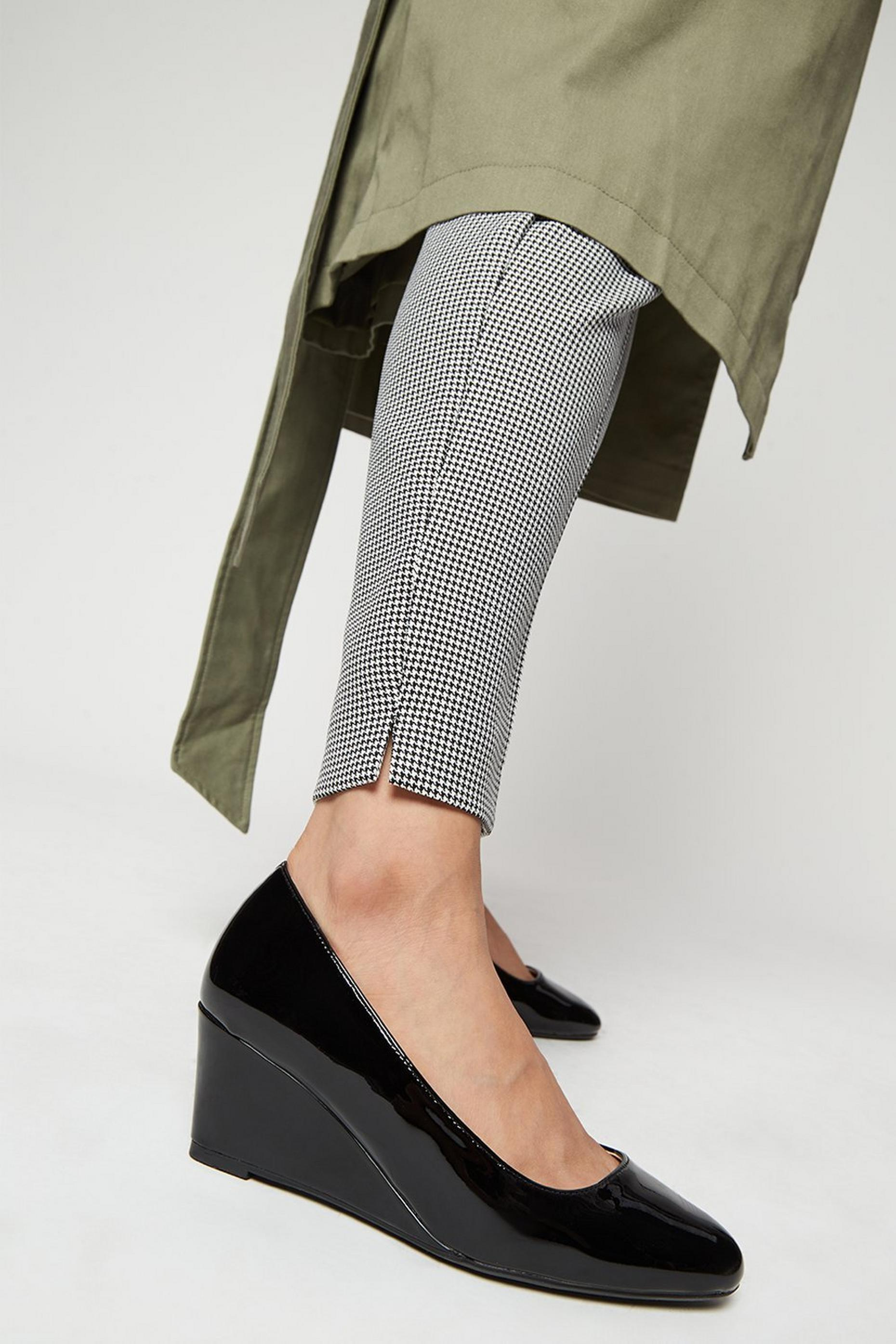 Wide Fit Black Dreamer Wedge Court Shoes