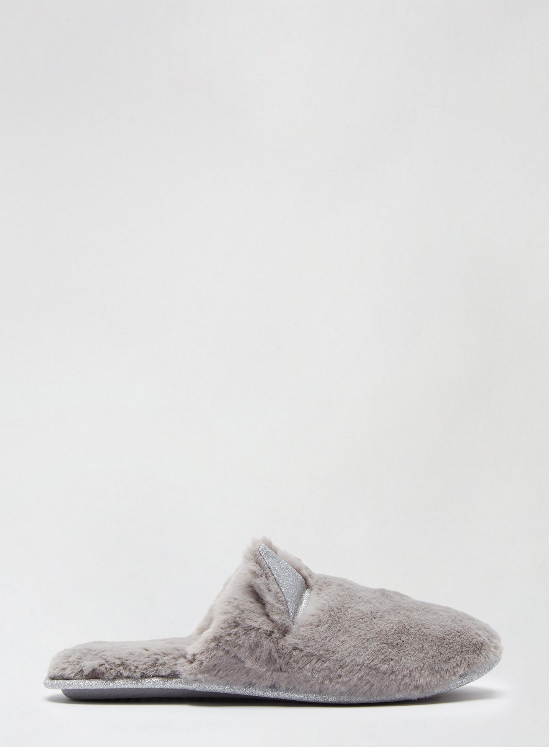 Light Grey Novelty Cat Slippers