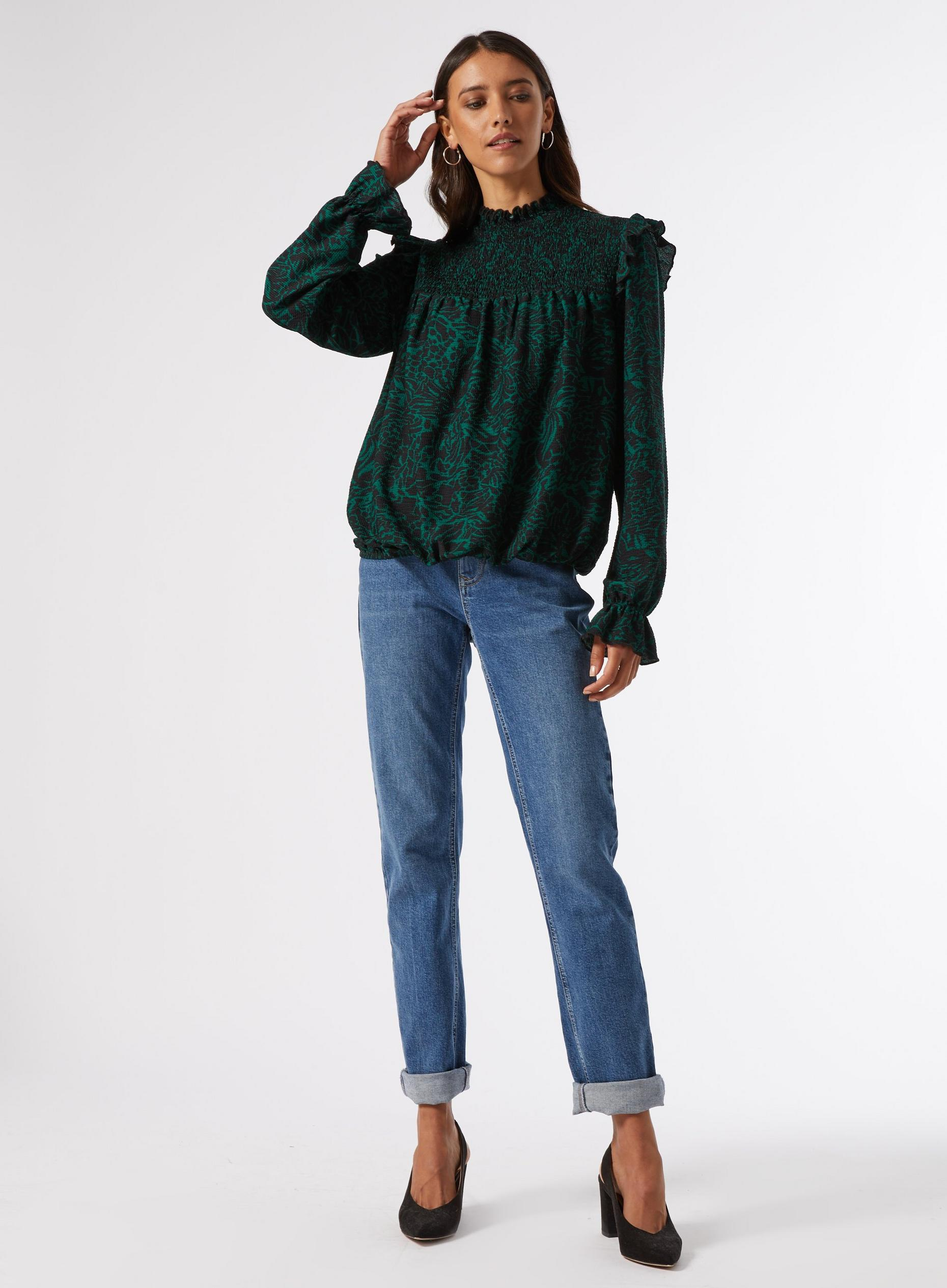 Green Print Textured Shirred Top
