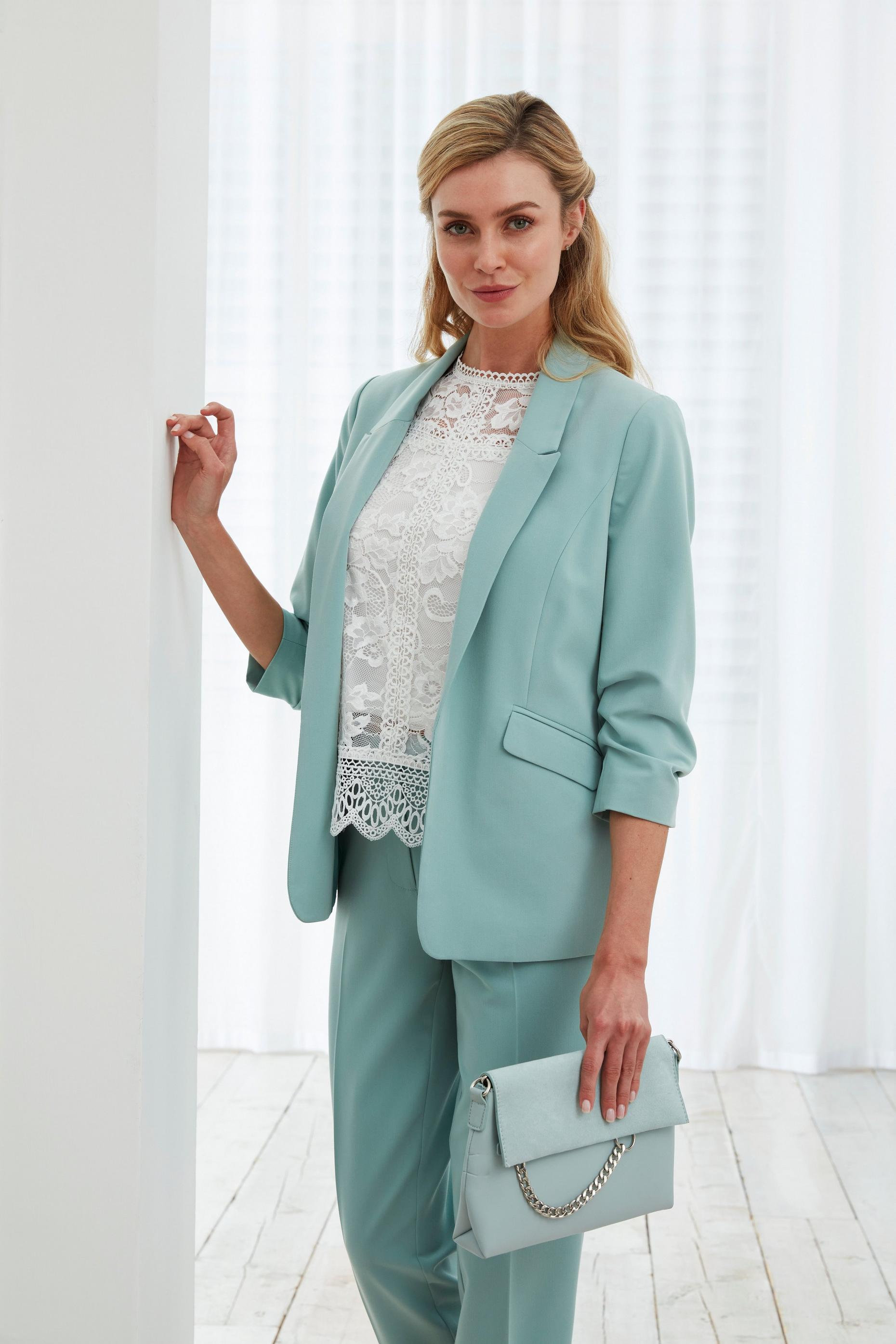 Seafoam Green Ruched Sleeve Jacket