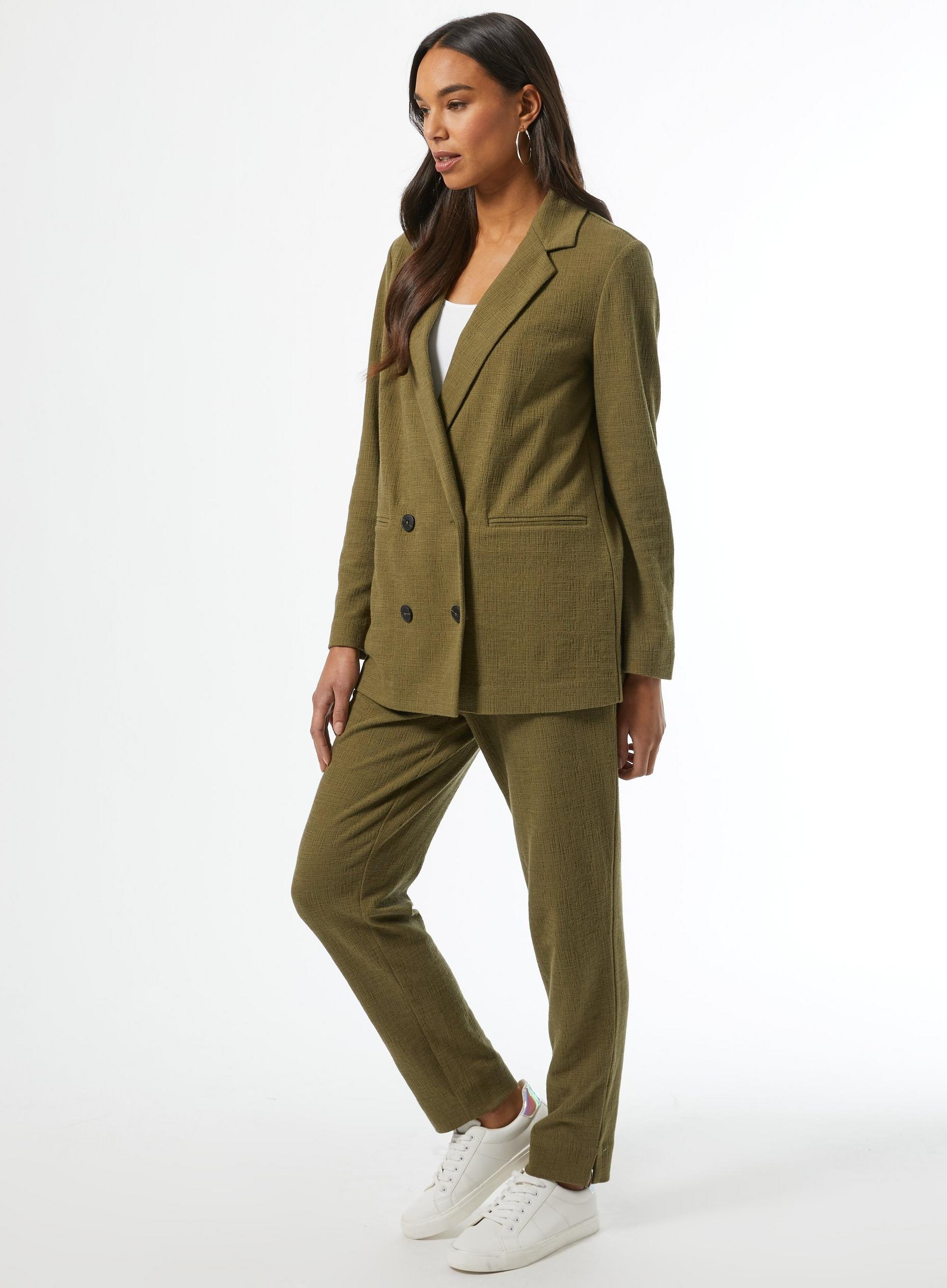 Khaki Jersey Mock Double Breasted Blazer
