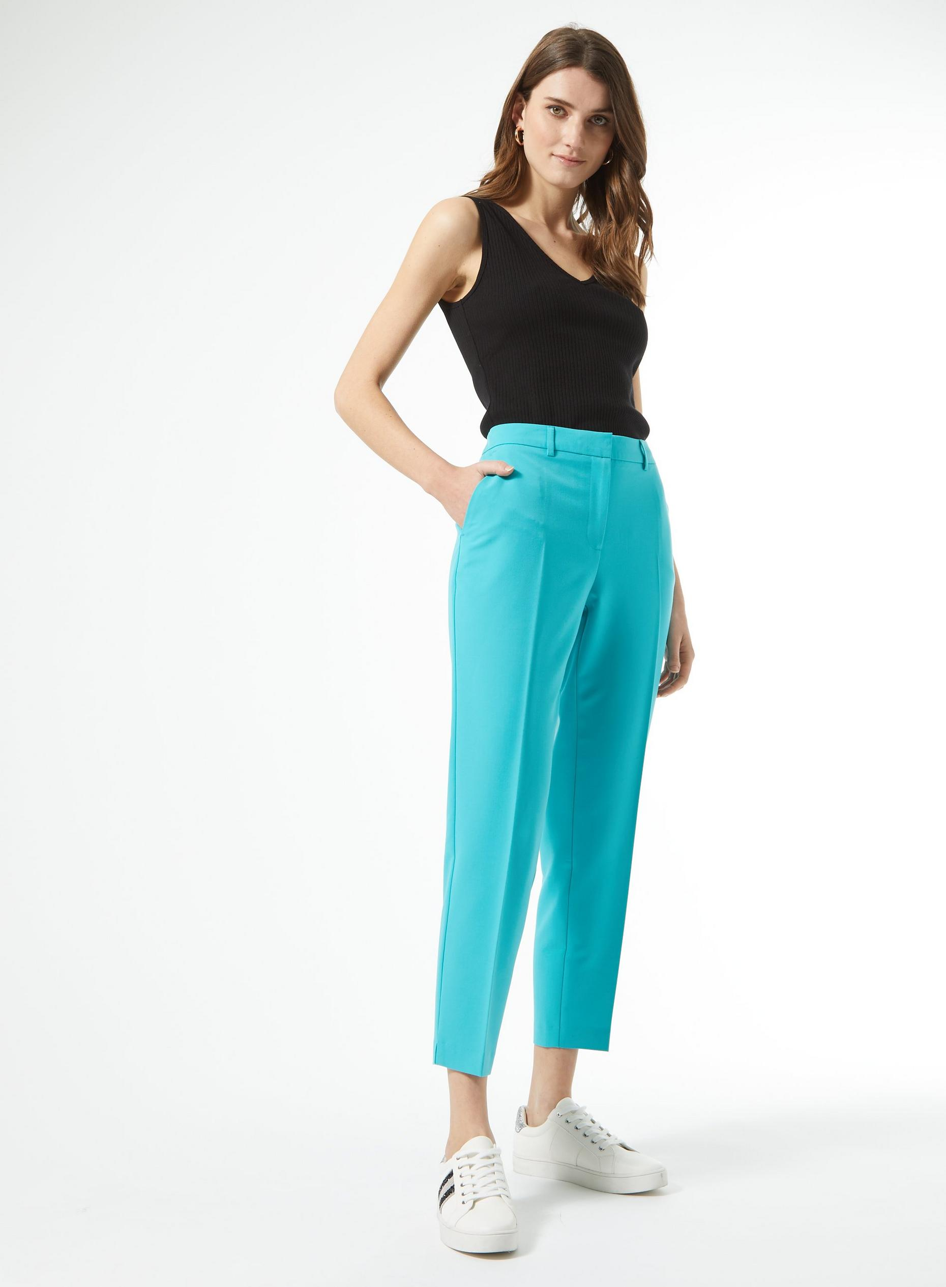 Turquoise Ankle Grazer Trousers