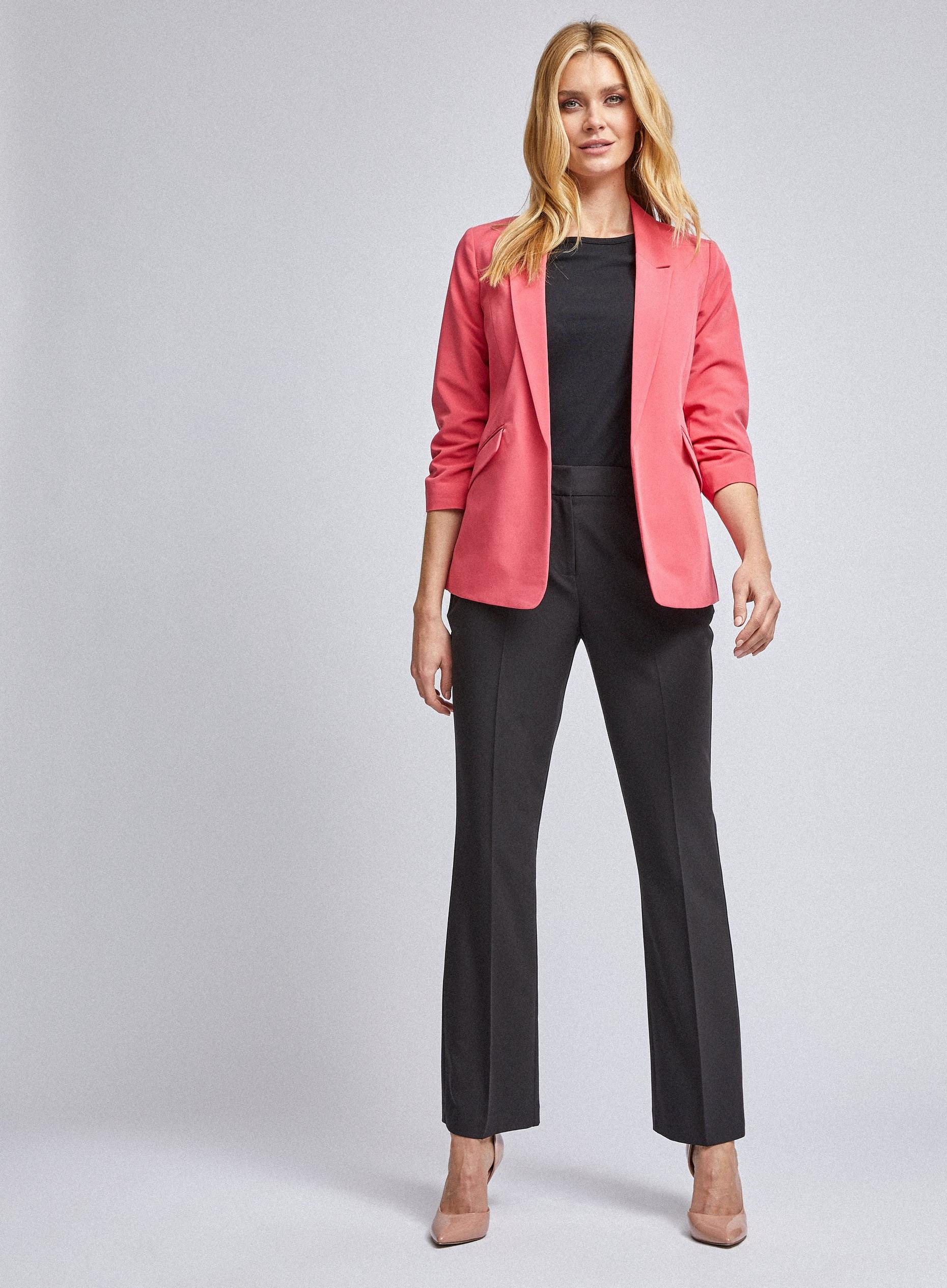 Coral Ruched Sleeve Jacket