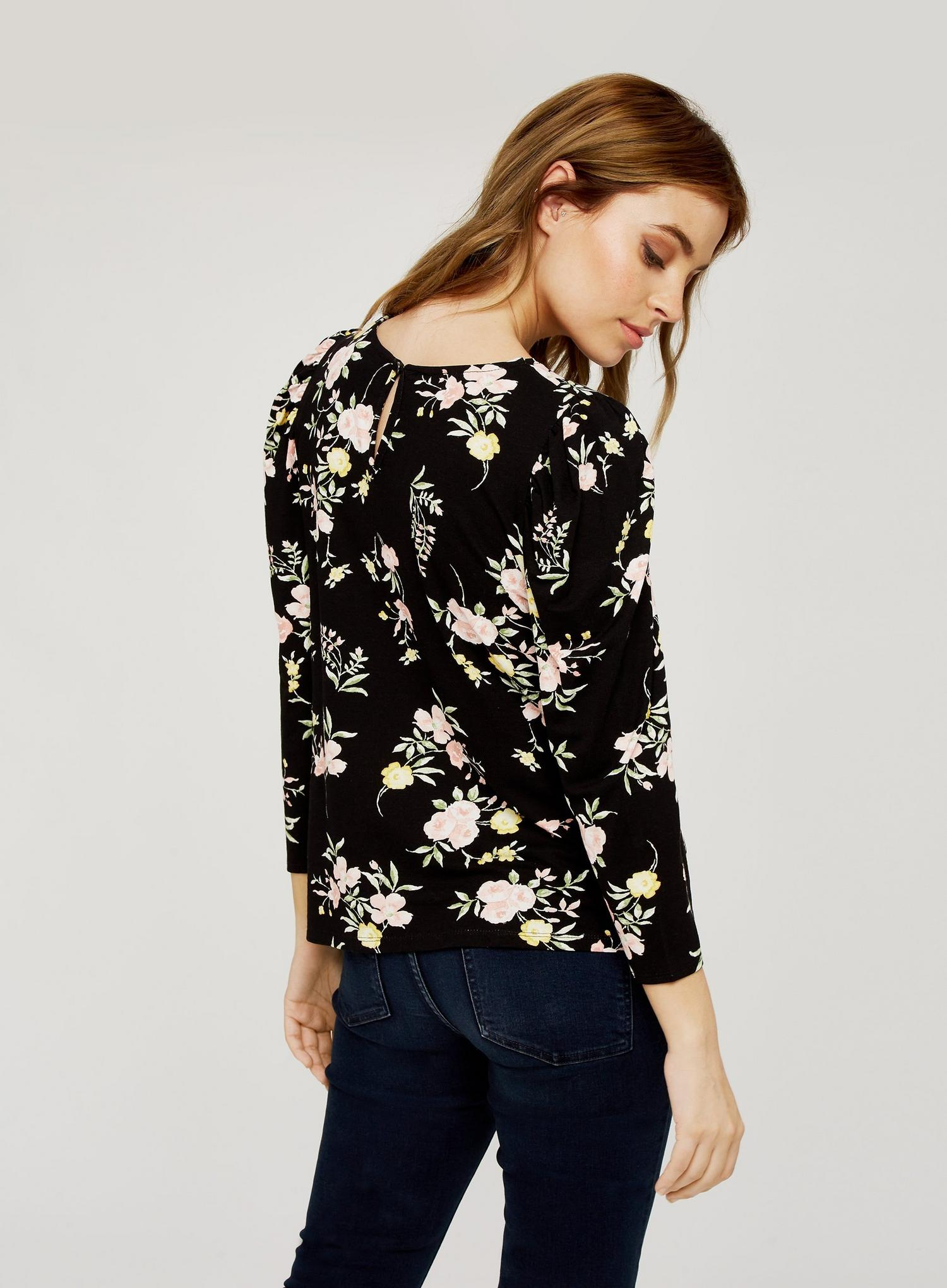 105 Petite Black Floral Print Top image number 2