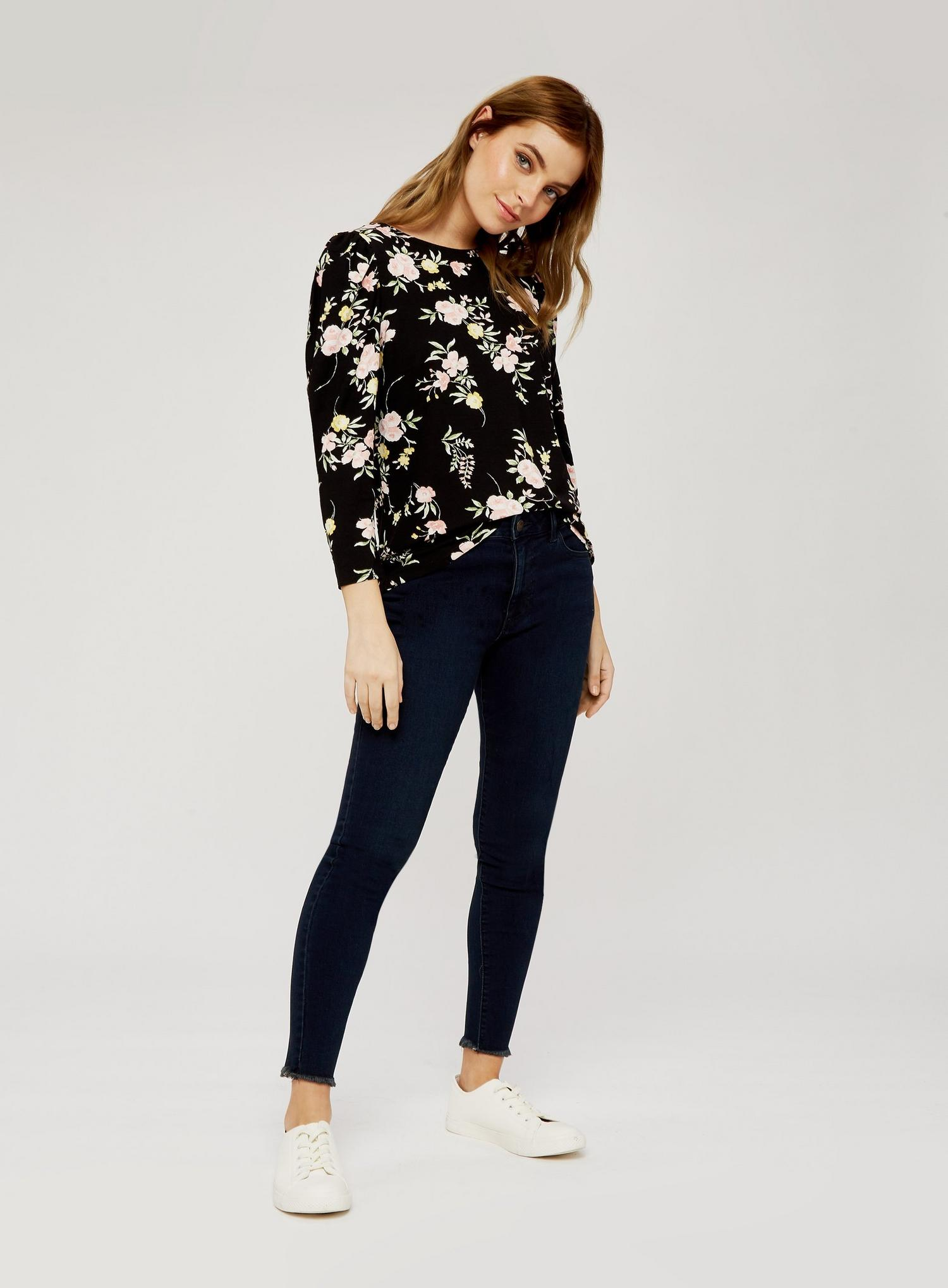 105 Petite Black Floral Print Top image number 4