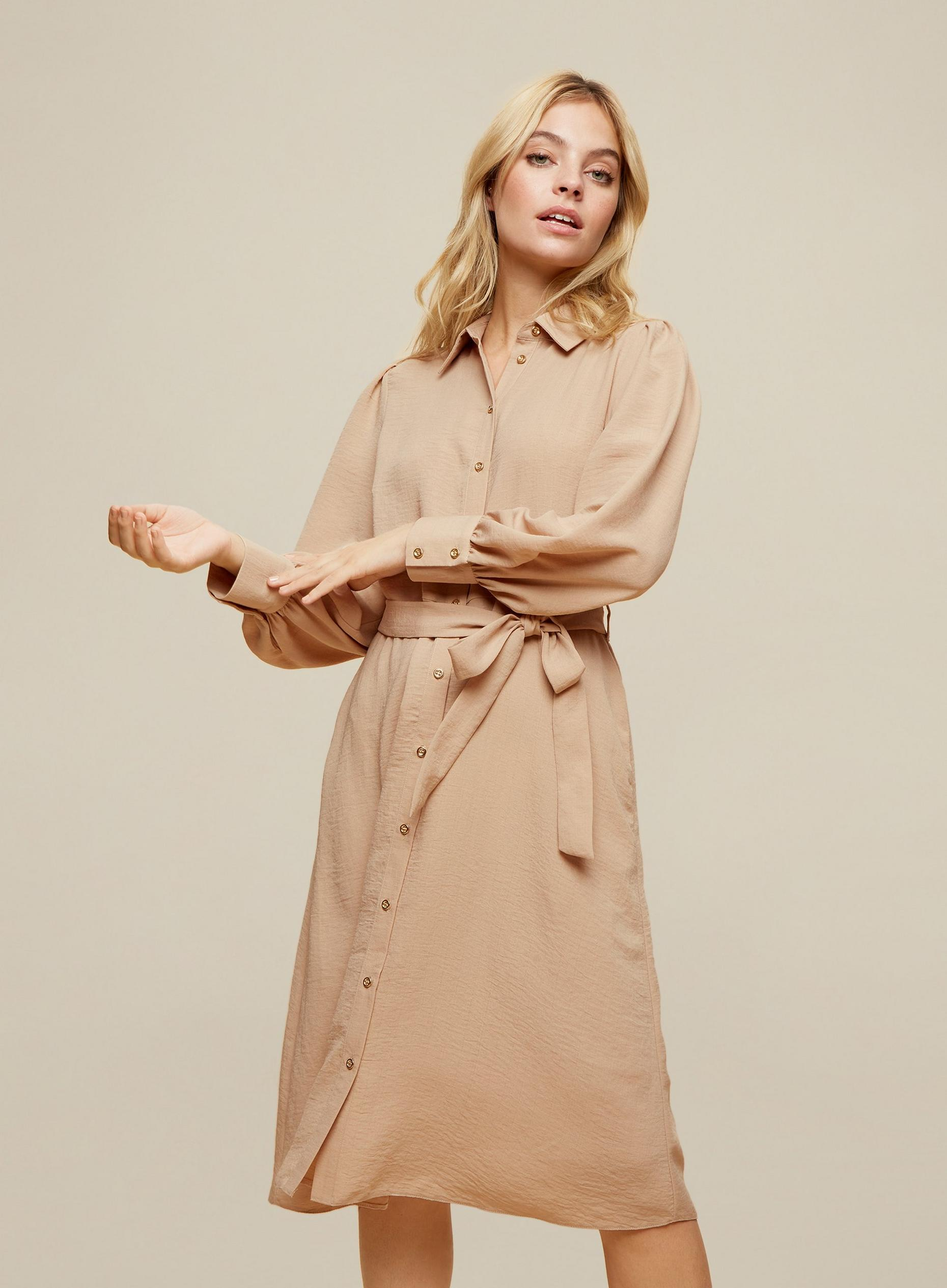 Petite Camel Midi Shirt Dress