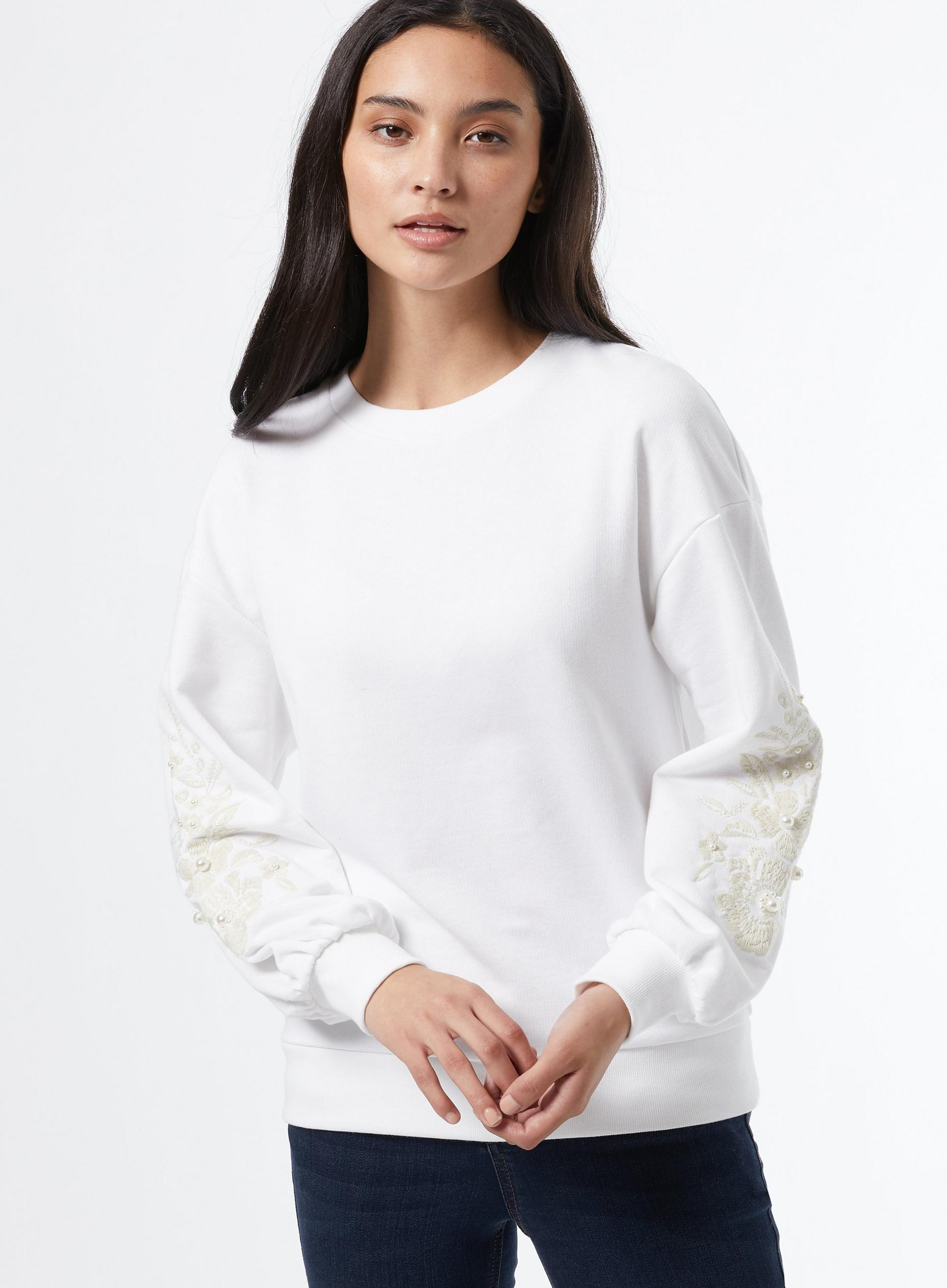 Petite Cream Embroided Sweatshirt