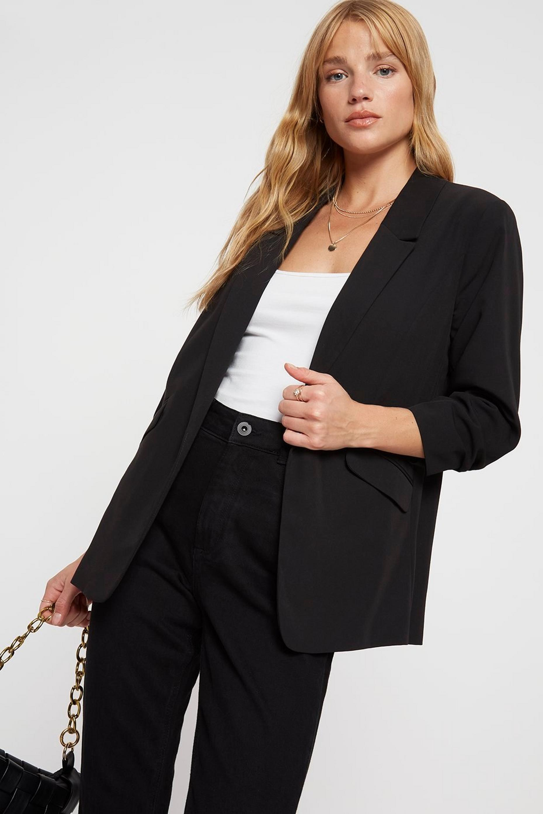 Black Ruched Sleeve Jacket