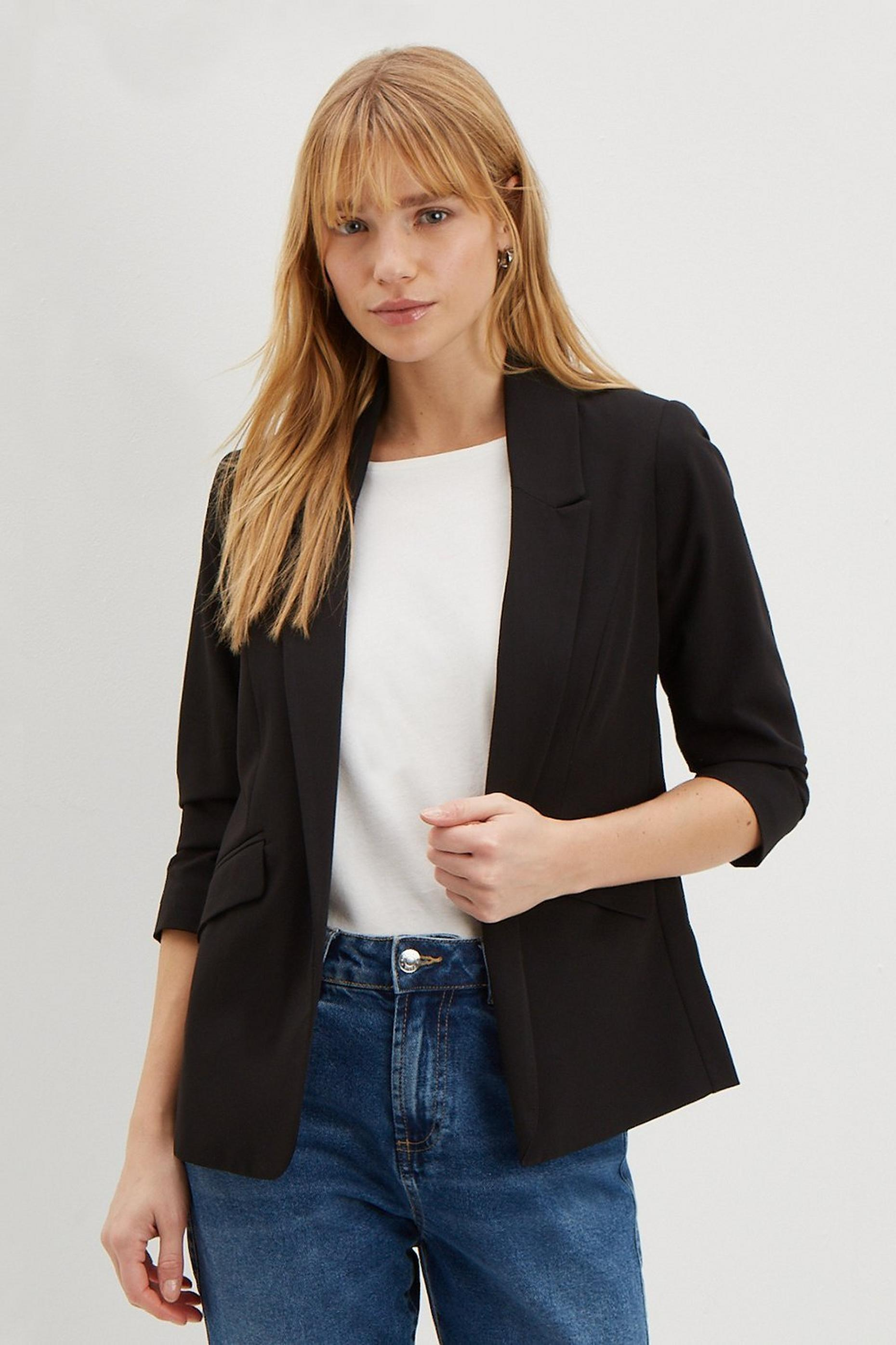 Petite Black Ruched Sleeve Jacket