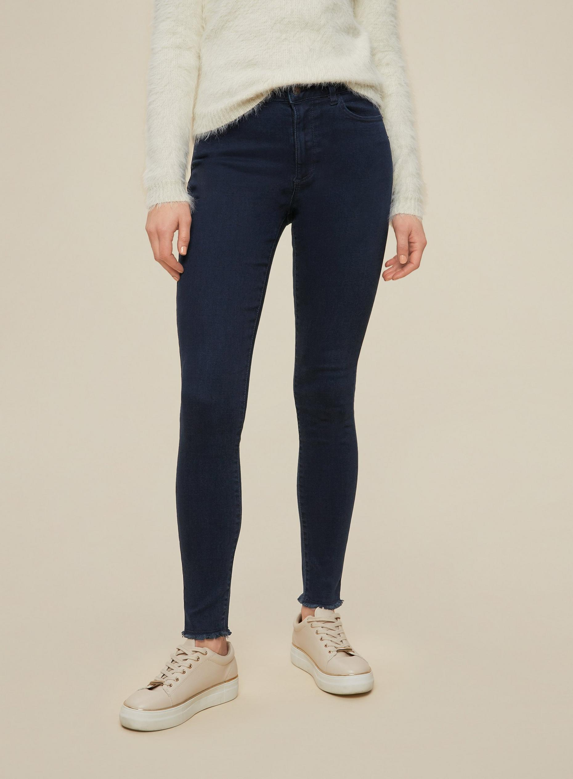 Blue Black Regular Raw Hem Alex Skinny Jeans
