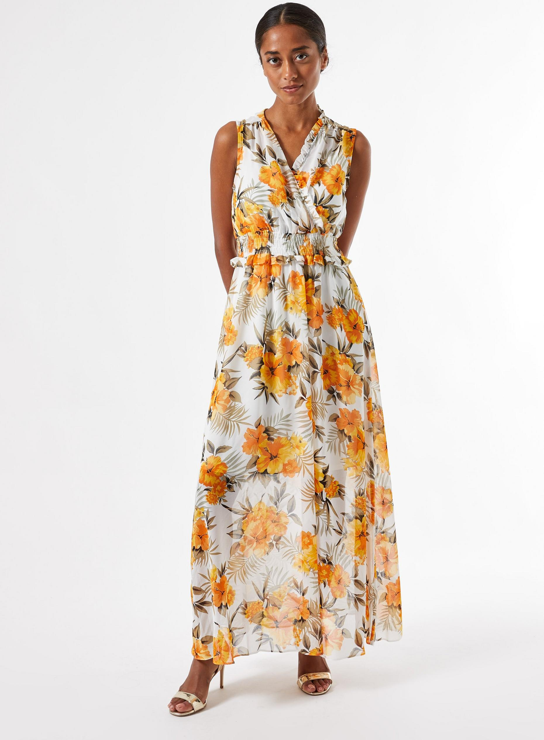 Petite Ochre Tropical Print Maxi Dress