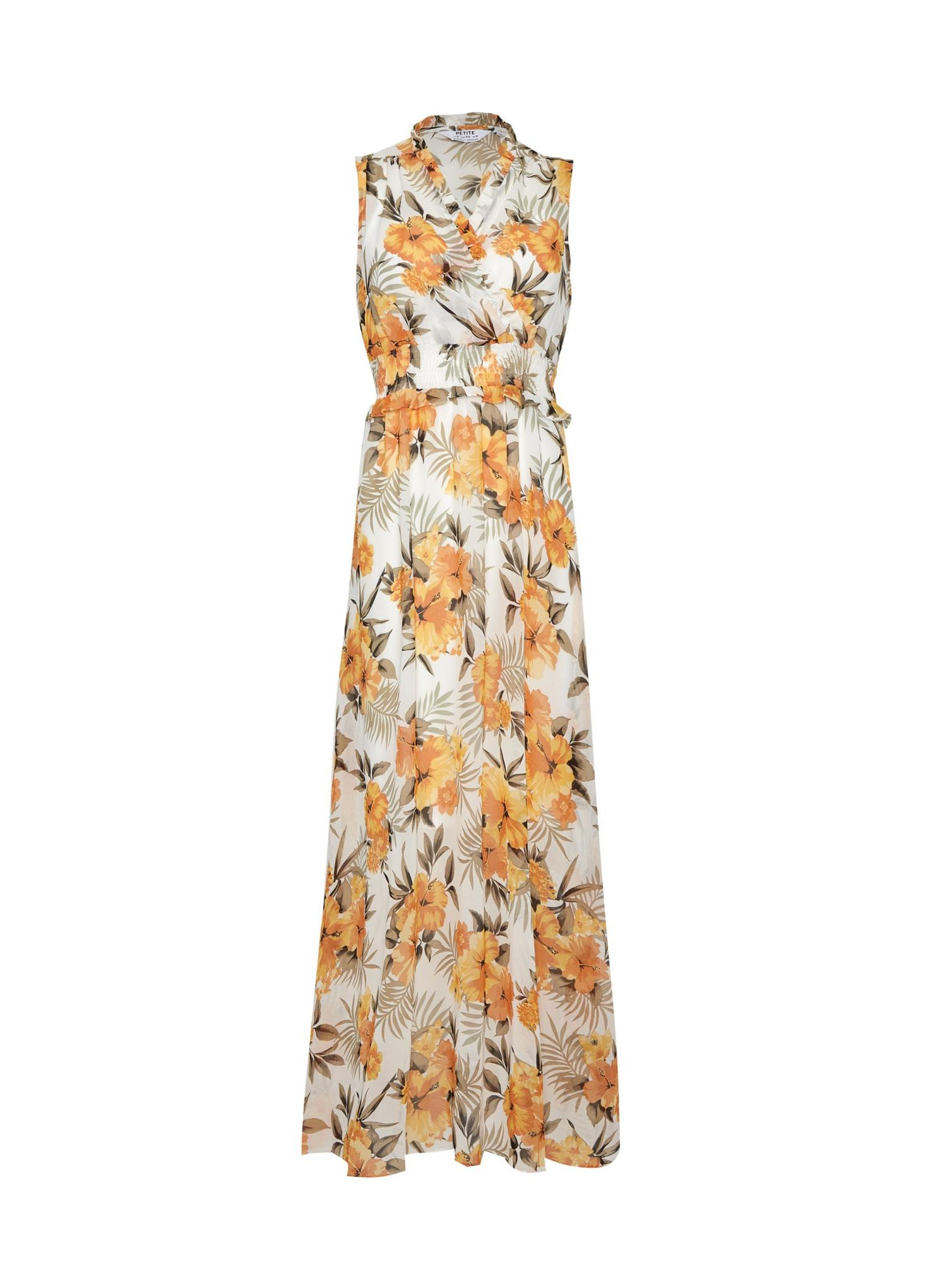 133 Petite Ochre Tropical Print Maxi Dress image number 2