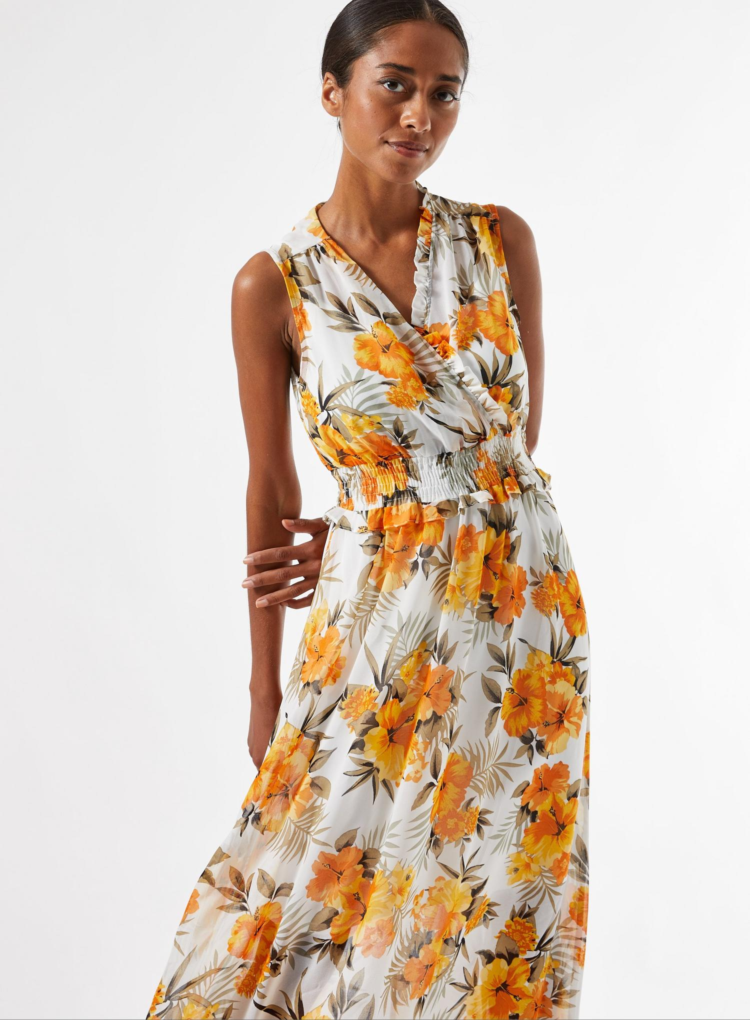 133 Petite Ochre Tropical Print Maxi Dress image number 3