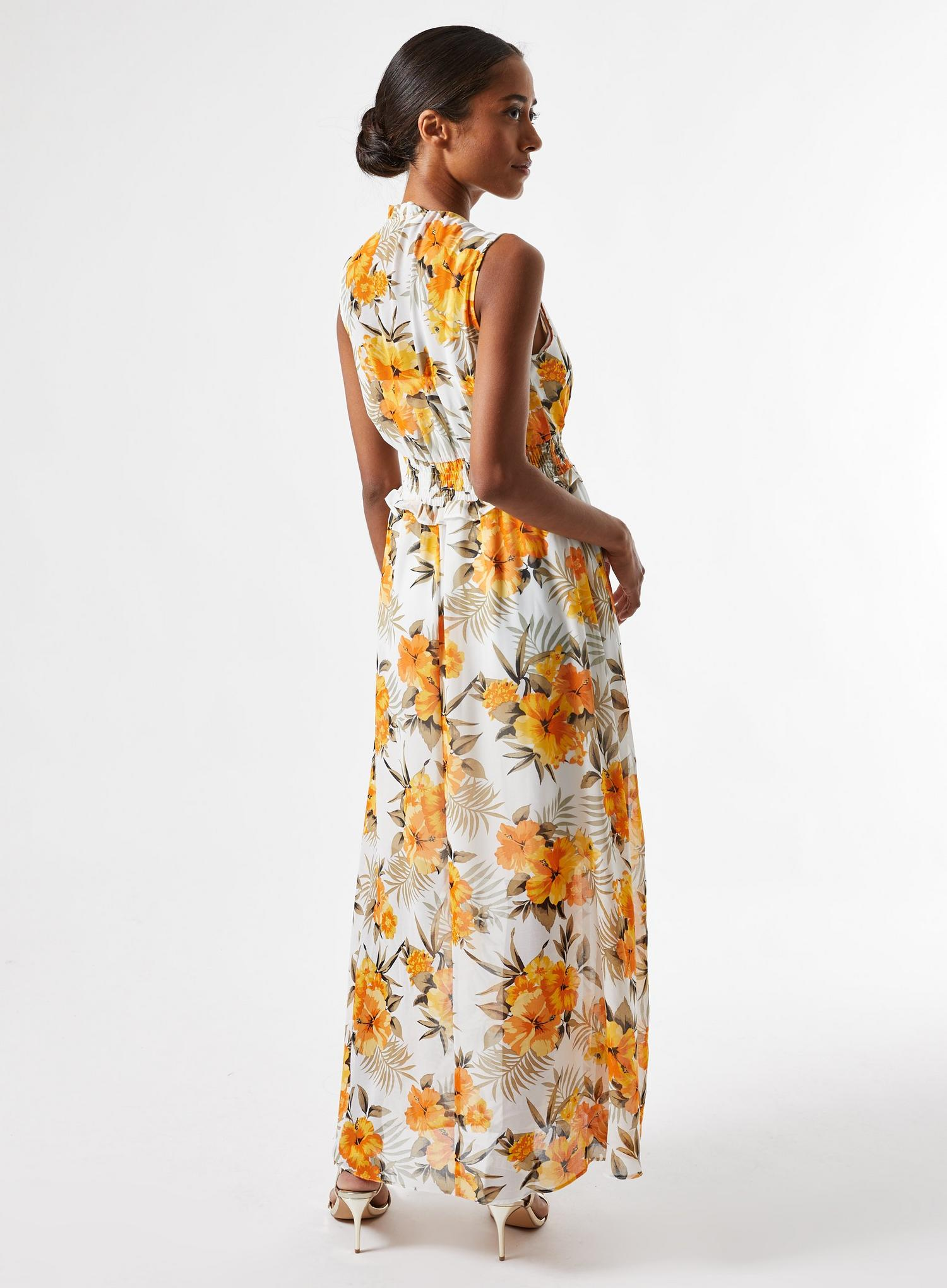 133 Petite Ochre Tropical Print Maxi Dress image number 4